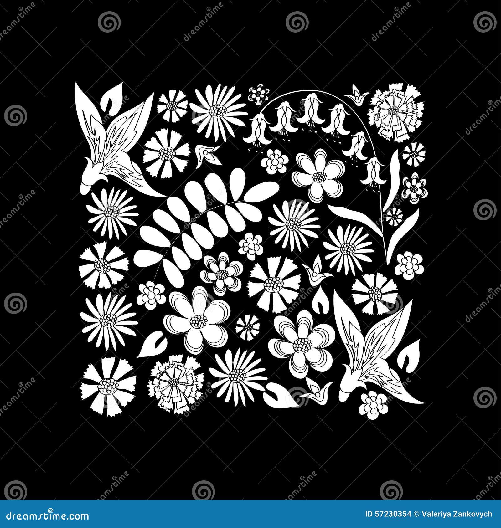 Dessin noir et blanc de fleurs sauvages illustration de - Dessin noir et blanc ...