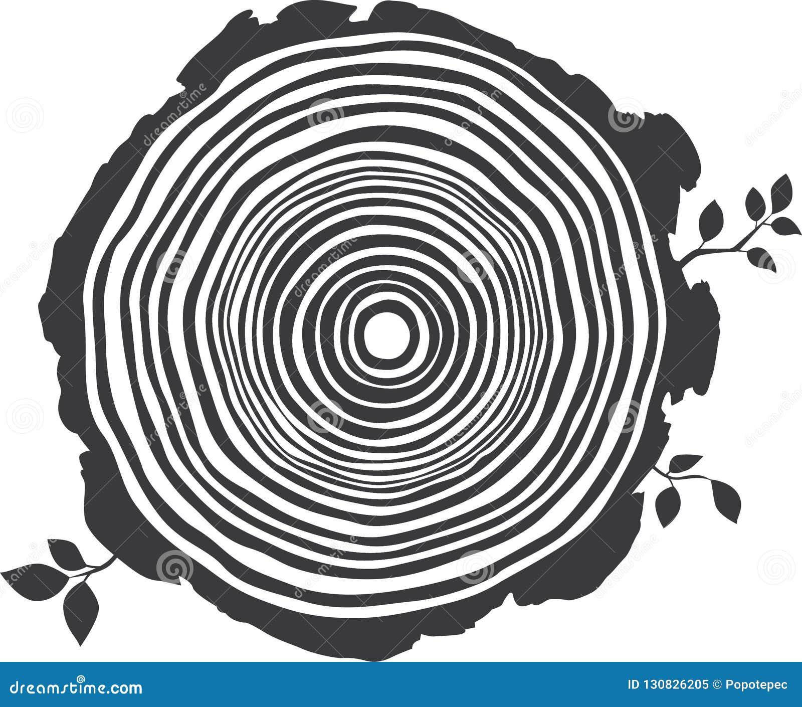 Dessin Noir Et Blanc Editable De Vecteur Des Anneaux Annuels