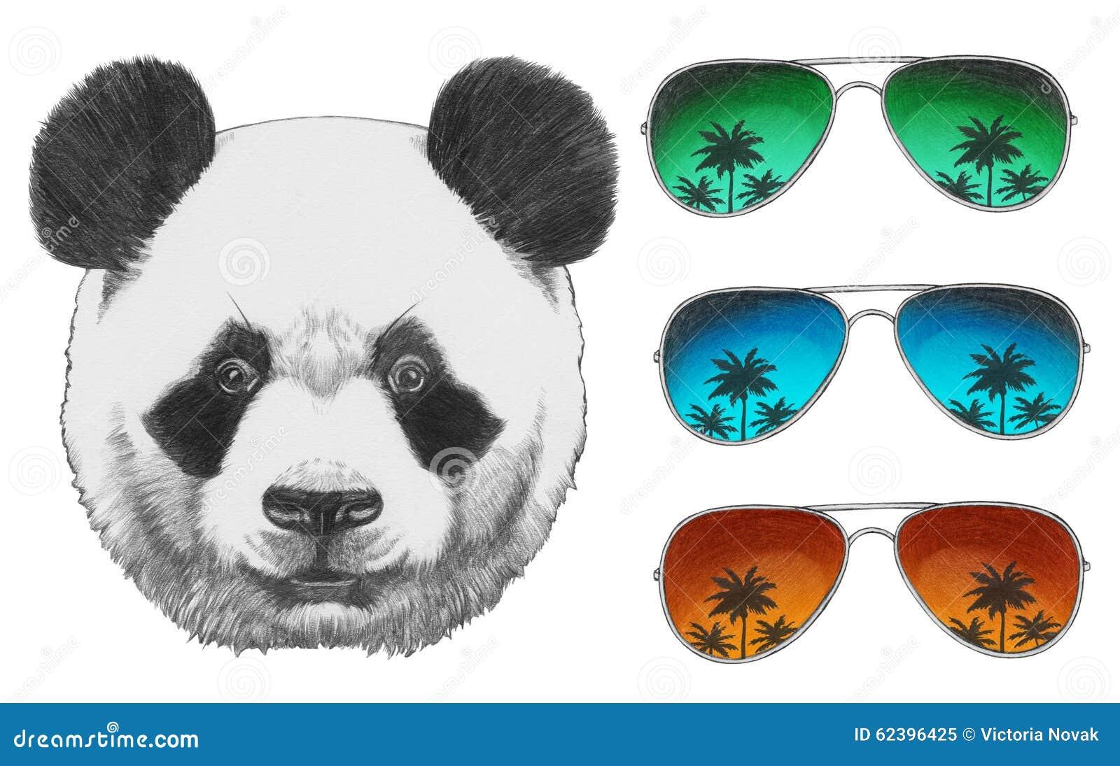 Dessin Lunettes De Soleil dessin original de panda avec des lunettes de soleil de miroir
