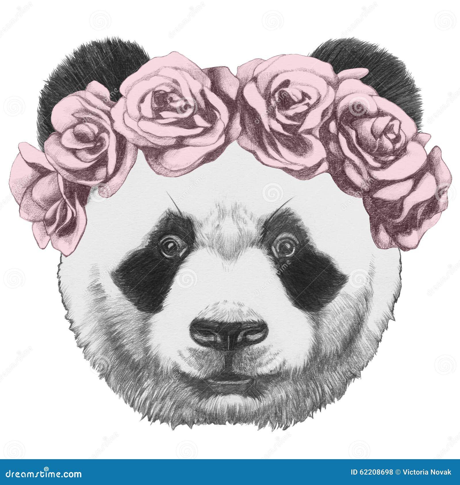 Dessin original de panda avec des roses