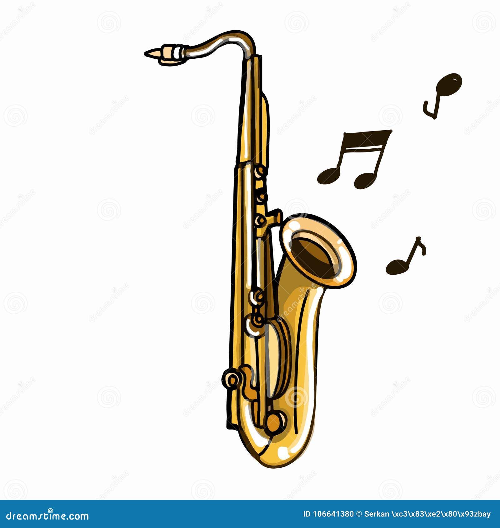 Dessin Saxophone dessin réaliste d'illustration de saxophone et fond de nota et blanc