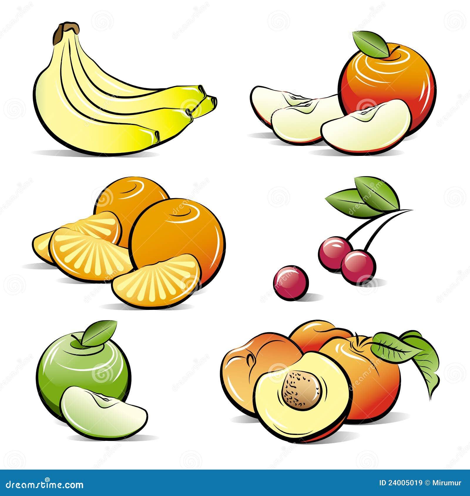 Dessin r gl de diff rents fruits de couleur illustration - Dessins fruits ...