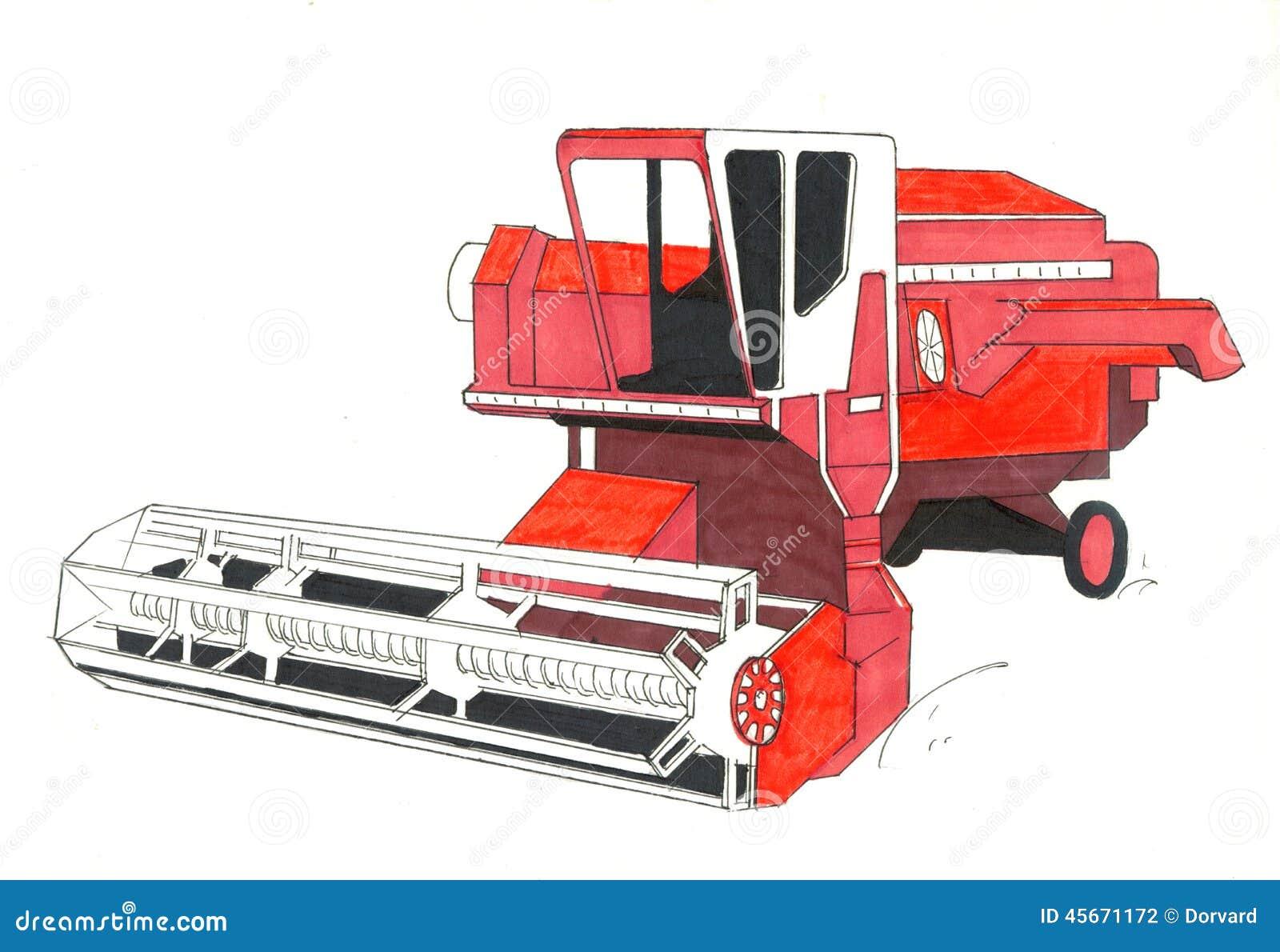 Dessin rouge de moissonneuse illustration stock image - Dessin moissonneuse ...