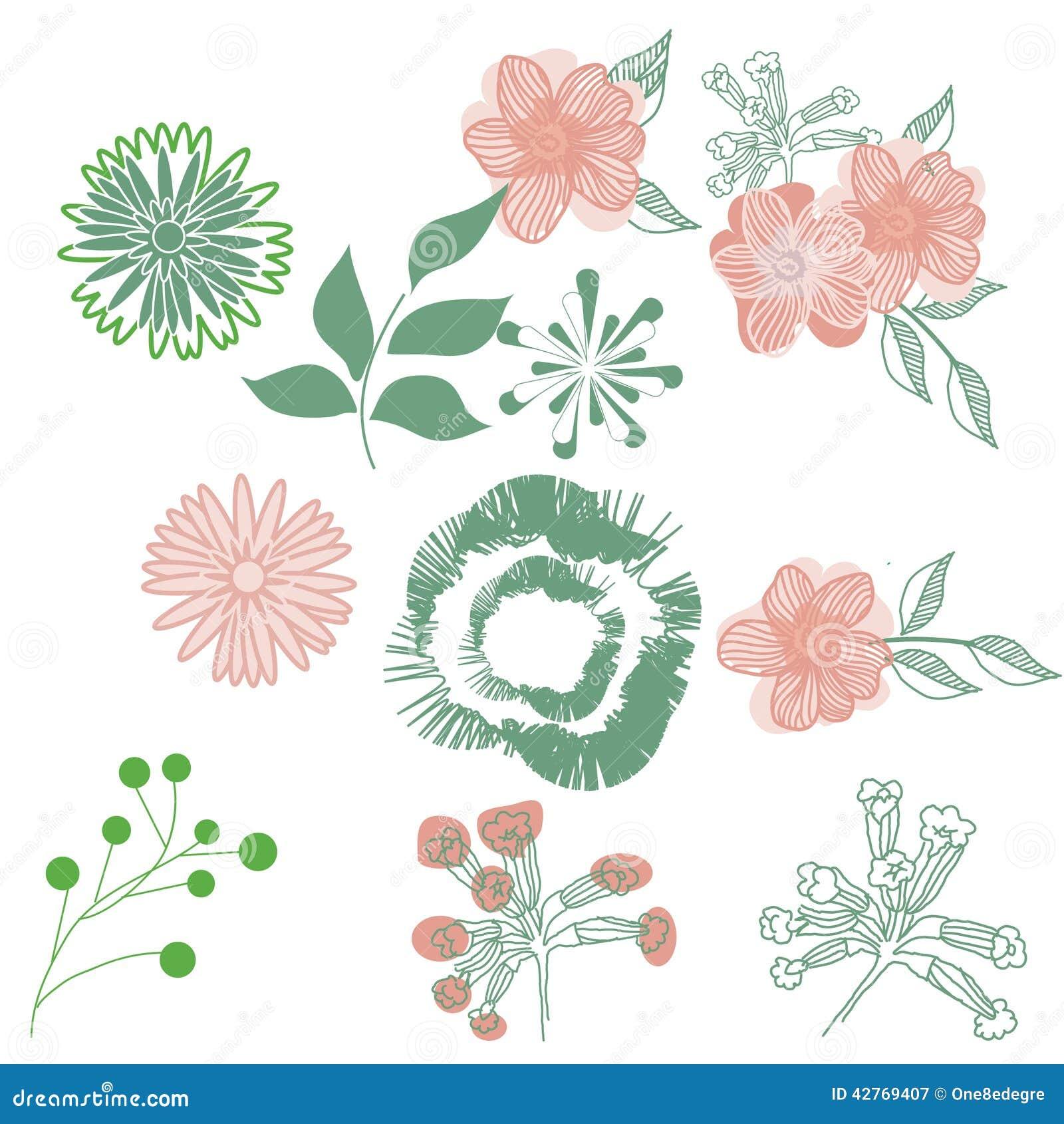 Dessin Stylisé De Fleurs Tiré Par La Main Illustration De