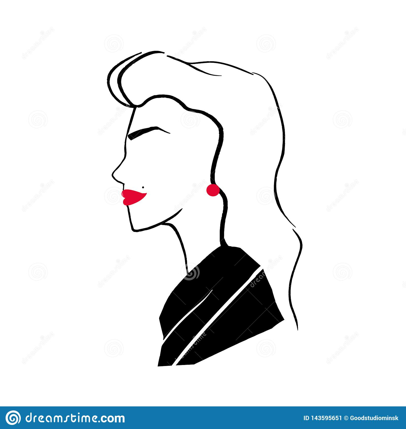 Dessin Stylisé De Jolie Fille à La Mode élégante Portrait De