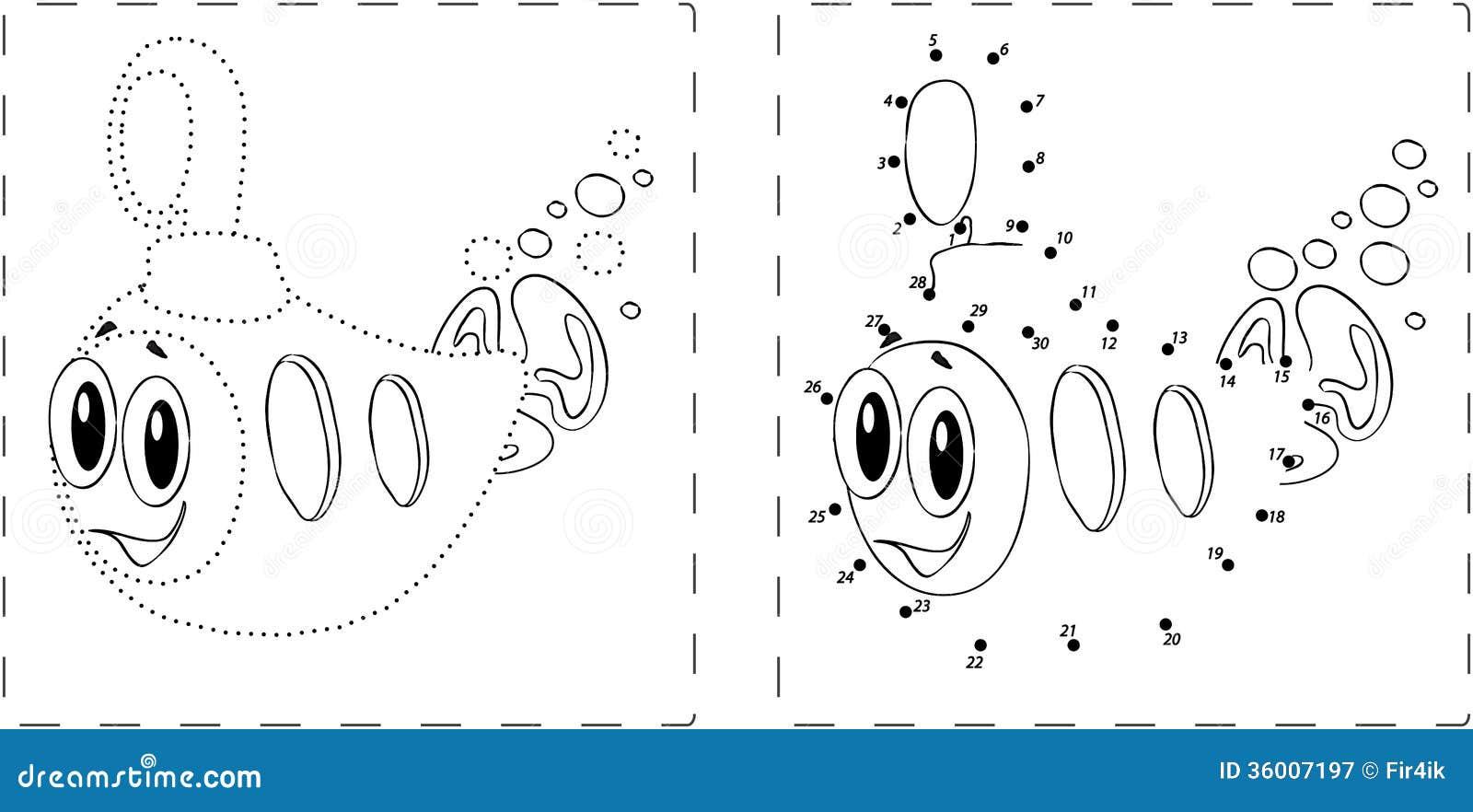 dessin submersible dr le avec des points et des chiffres illustration de vecteur illustration. Black Bedroom Furniture Sets. Home Design Ideas