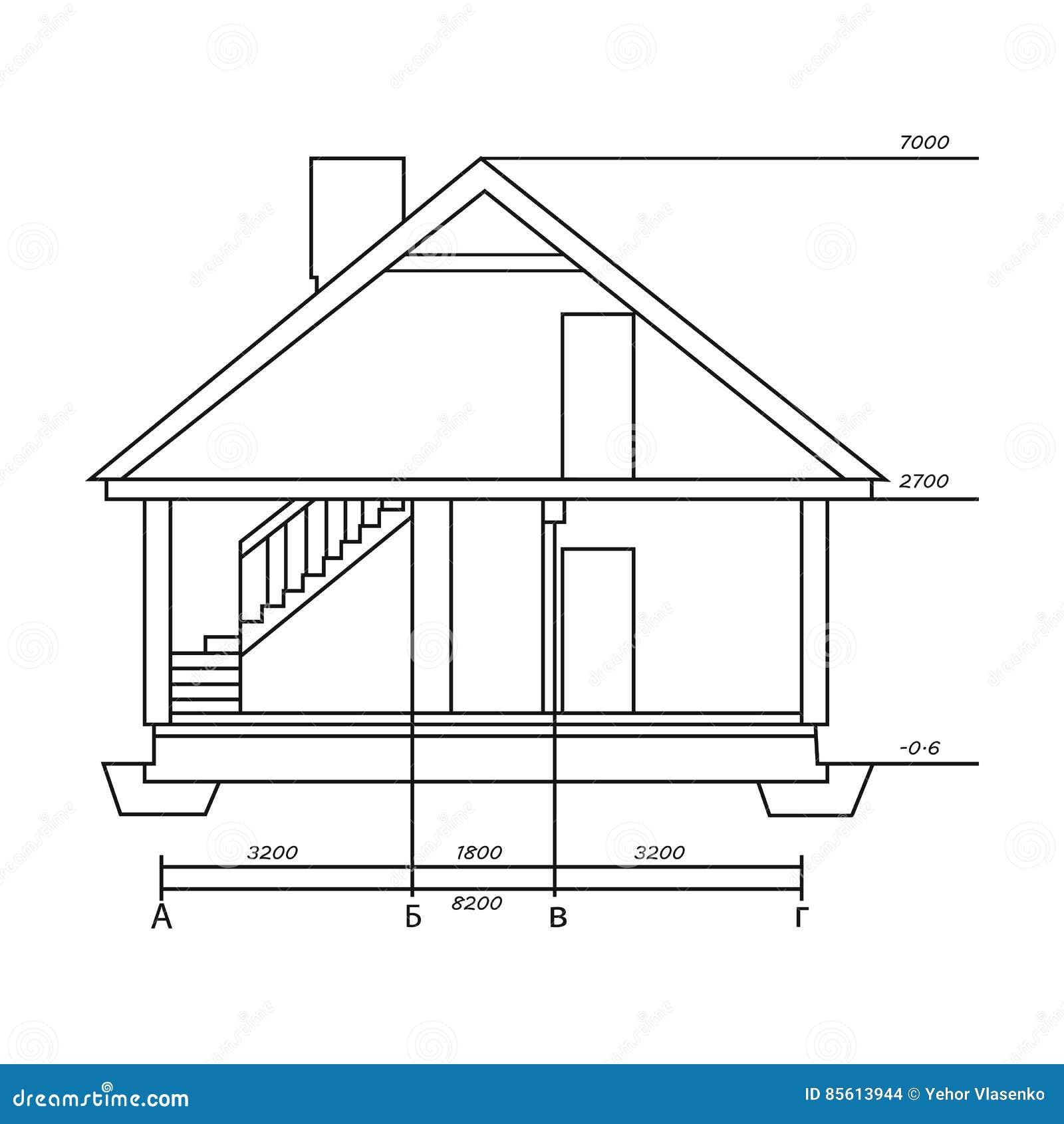 Dessin technique de l icône de maison dans le style d ensemble d isolement sur le
