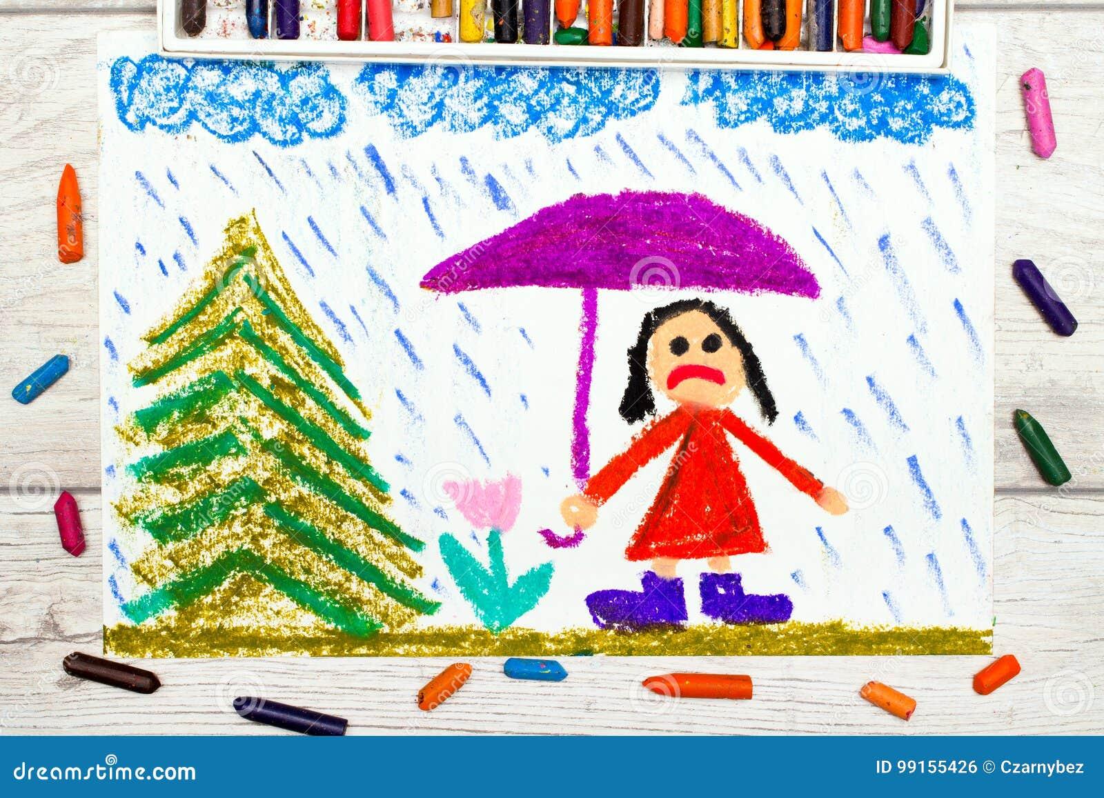 Dessin Temps Pluvieux Et Petite Fille Triste Tenant Le