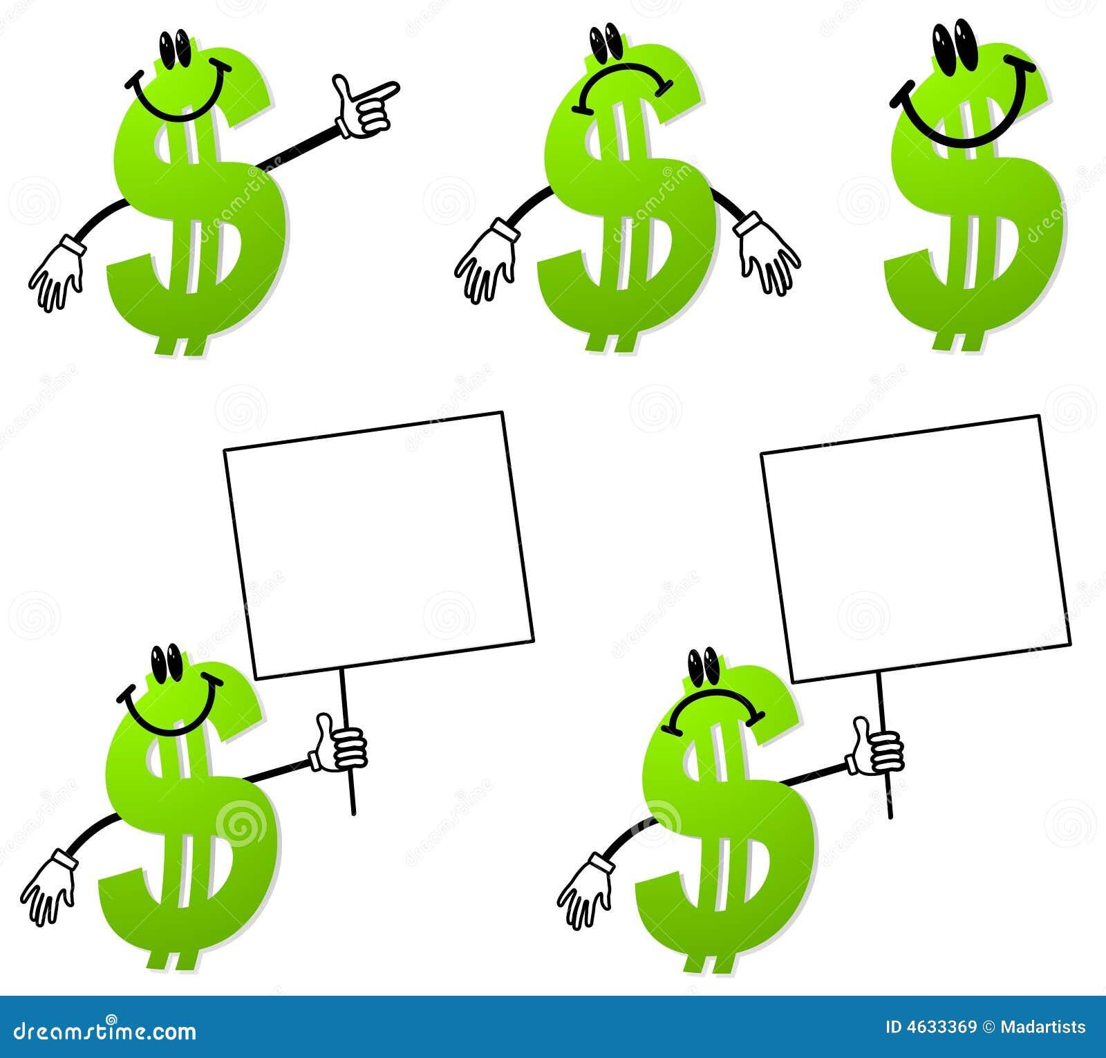 Dessins animés de signe du dollar d argent