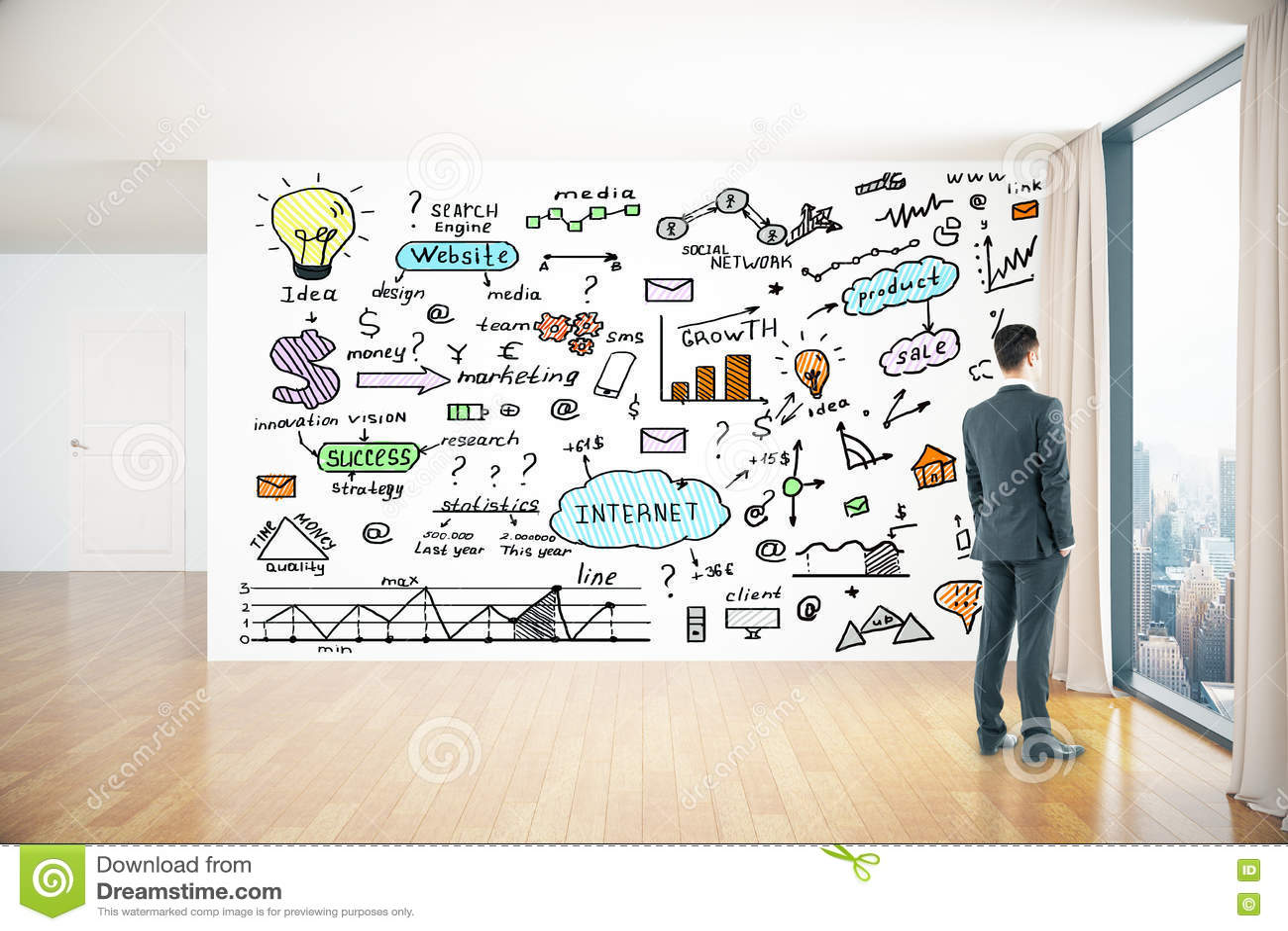 Dessins d affaires sur le mur