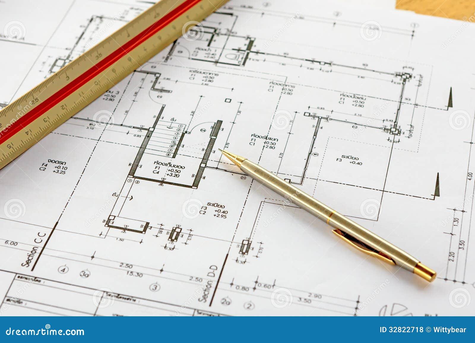 Dessins d 39 architecture avec le crayon et la r gle photos for Dessin d architecture