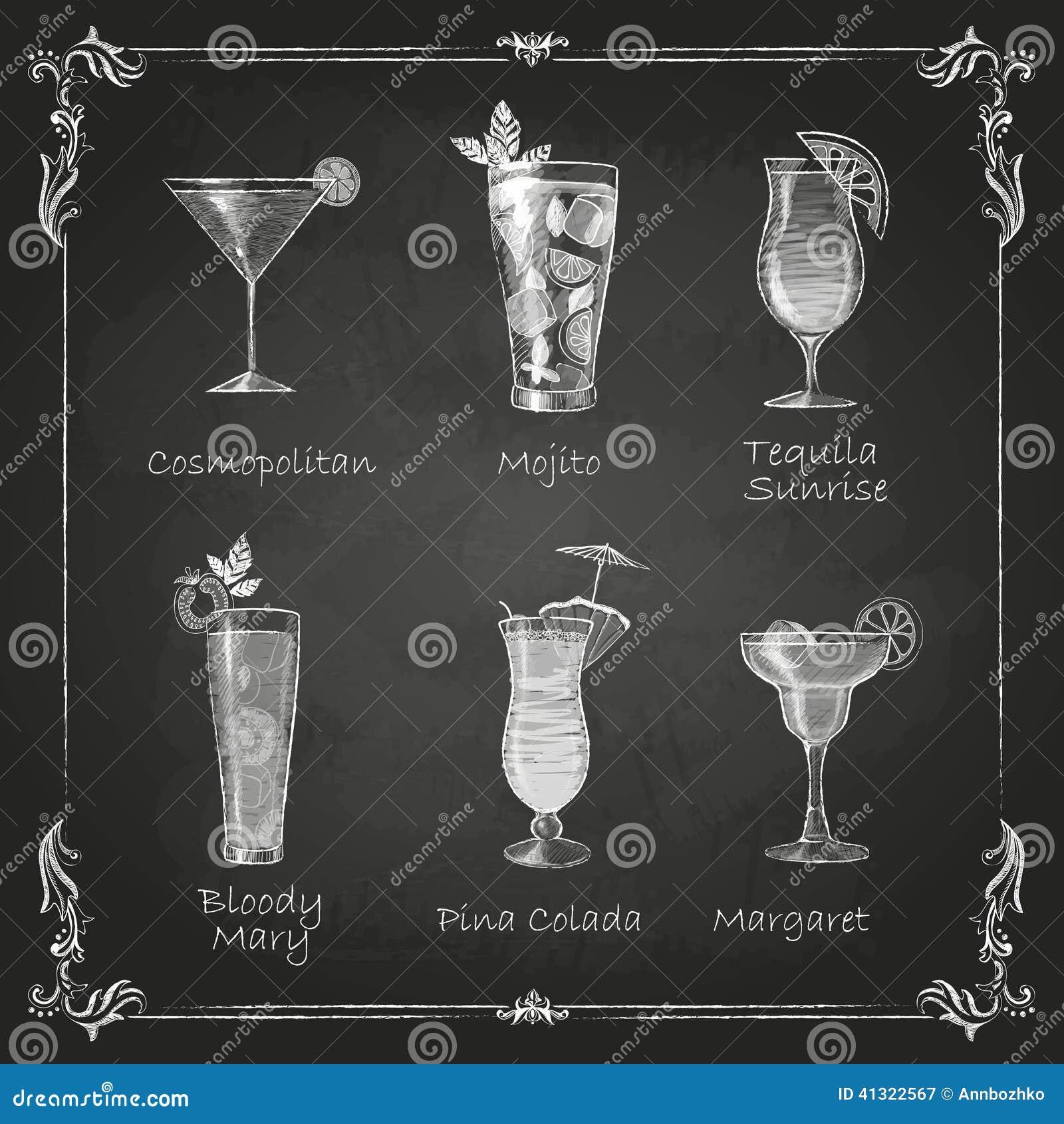 Dessins de craie menu de cocktail