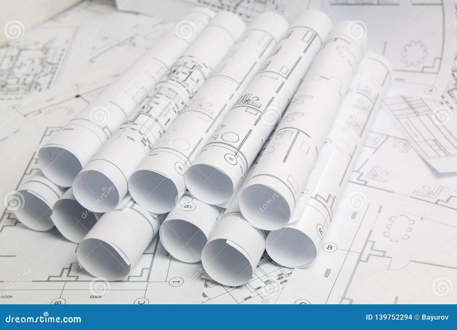 Dessins et modèle architecturaux de papier Modèle d ingénierie