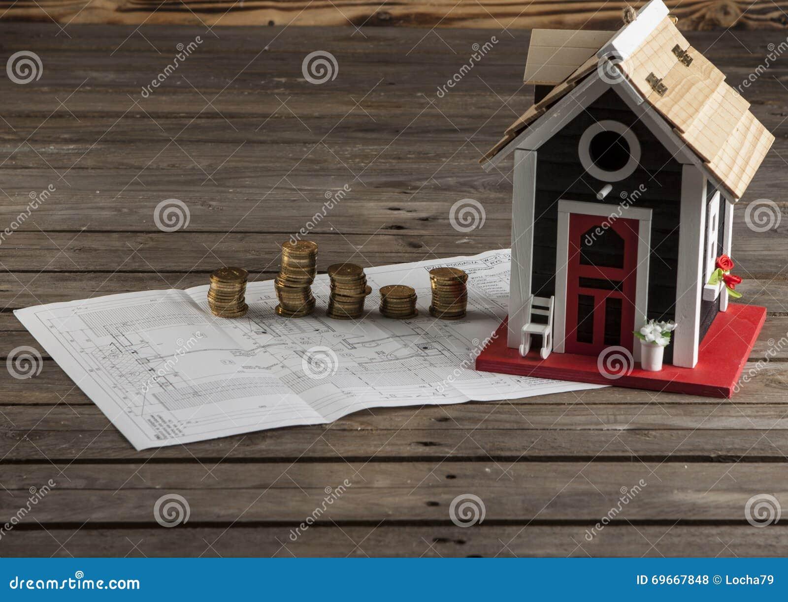 Dessins Pour La Construction Et La Petite Maison En Bois Photo Stock