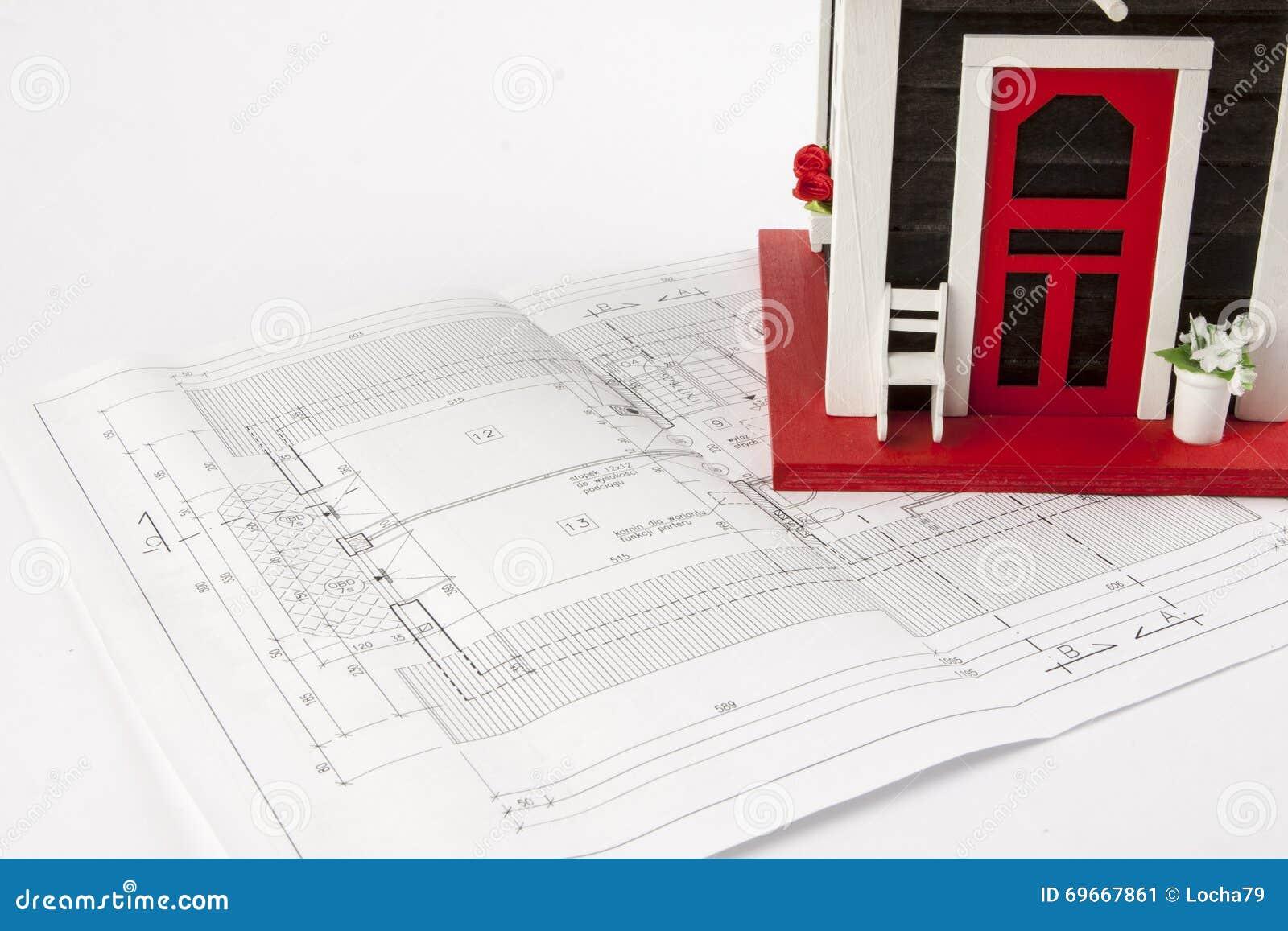 Dessins Pour La Construction Et La Petite Maison En Bois Image Stock