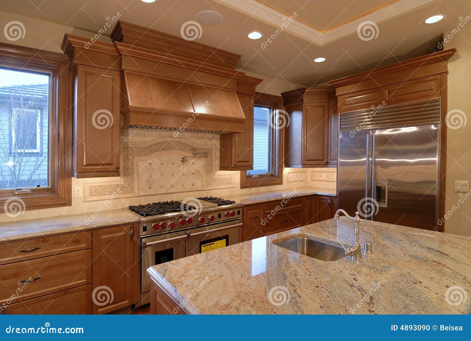 dessus de cuisine de granit contre photo stock image du grand po le 4893090. Black Bedroom Furniture Sets. Home Design Ideas