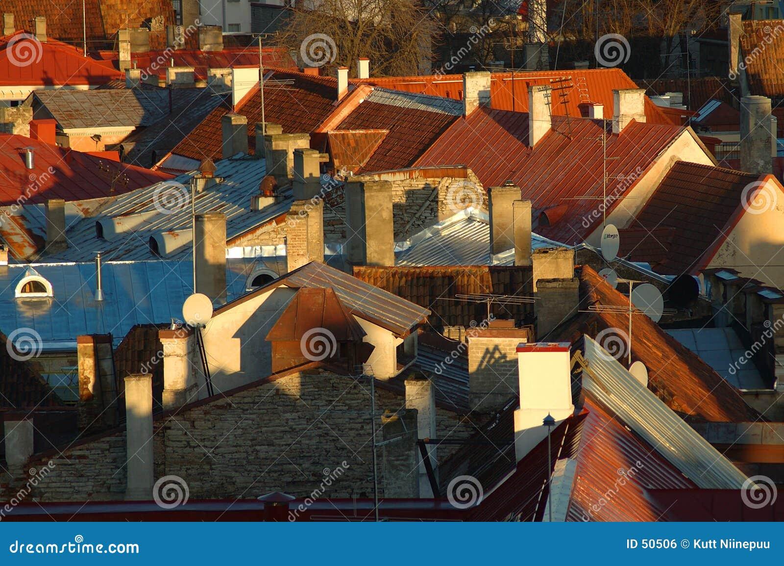 Download Dessus de toit photo stock. Image du coloré, plafonds, texture - 50506