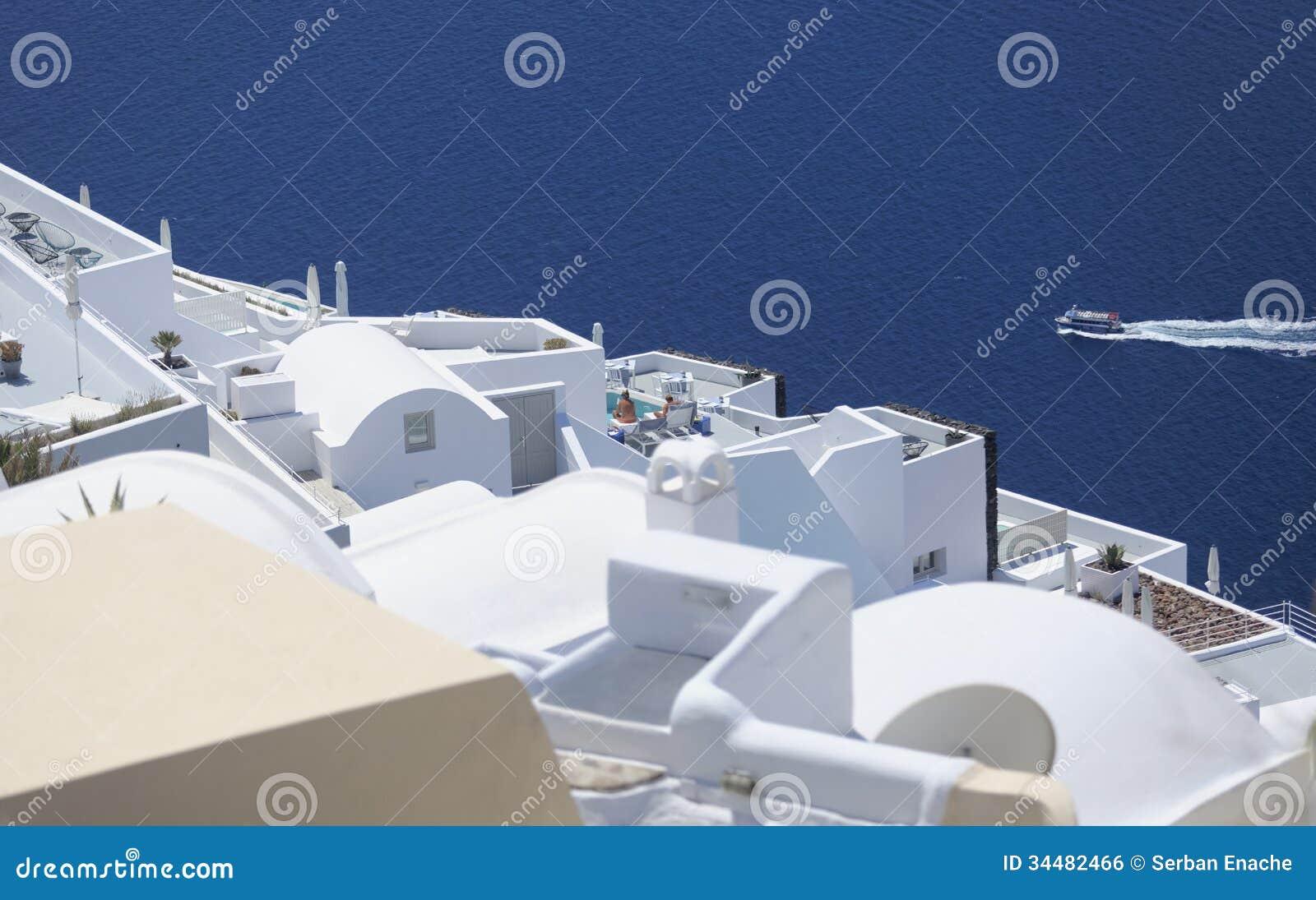 Dessus de toit de Santorini