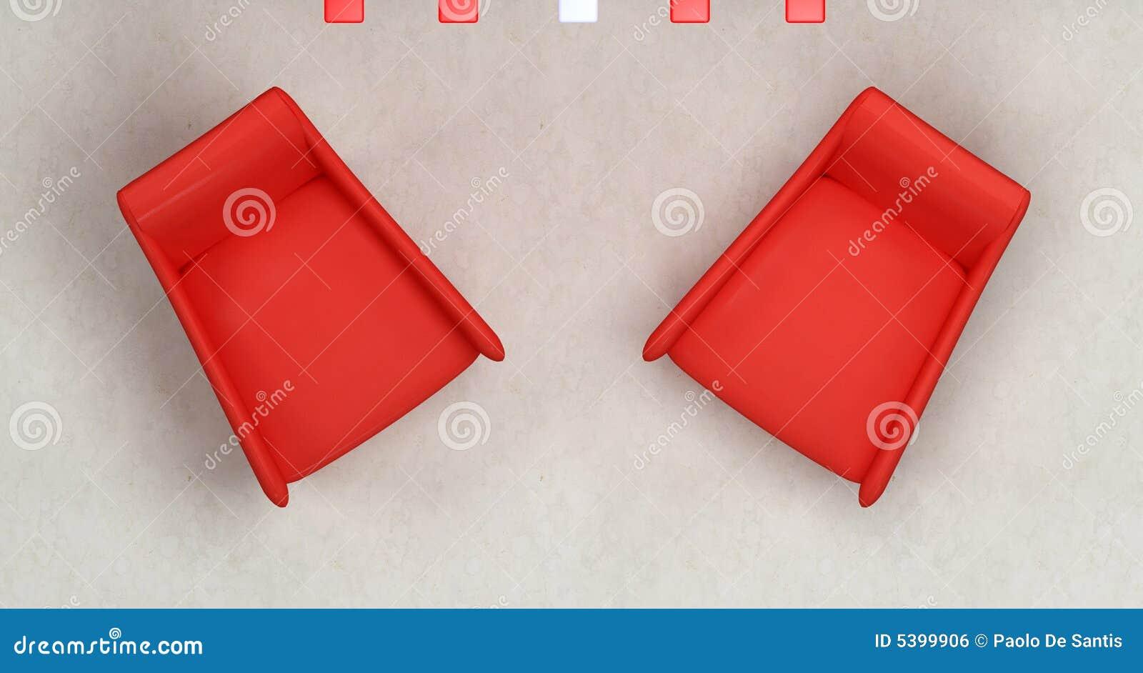dessus vue de fauteuil de deux rouges image libre de droits image 5399906. Black Bedroom Furniture Sets. Home Design Ideas