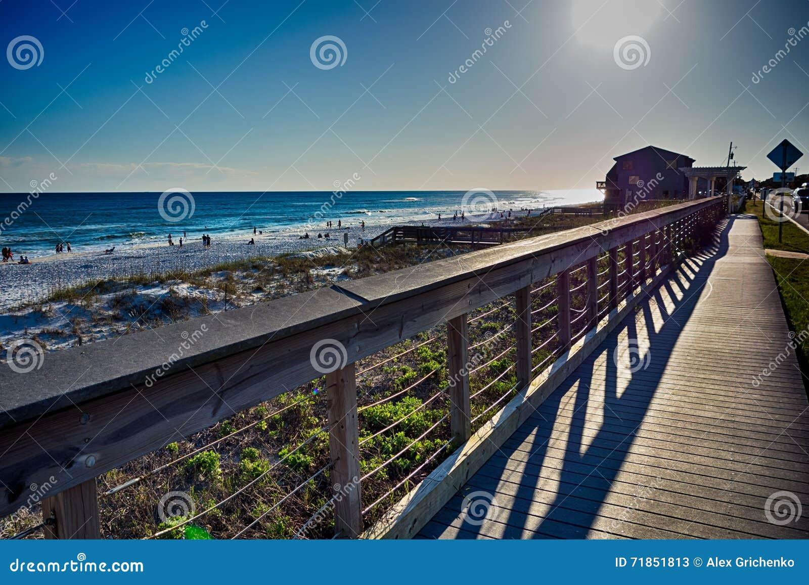 destin florida beach scenes stock image - image of boardwalk, cloud