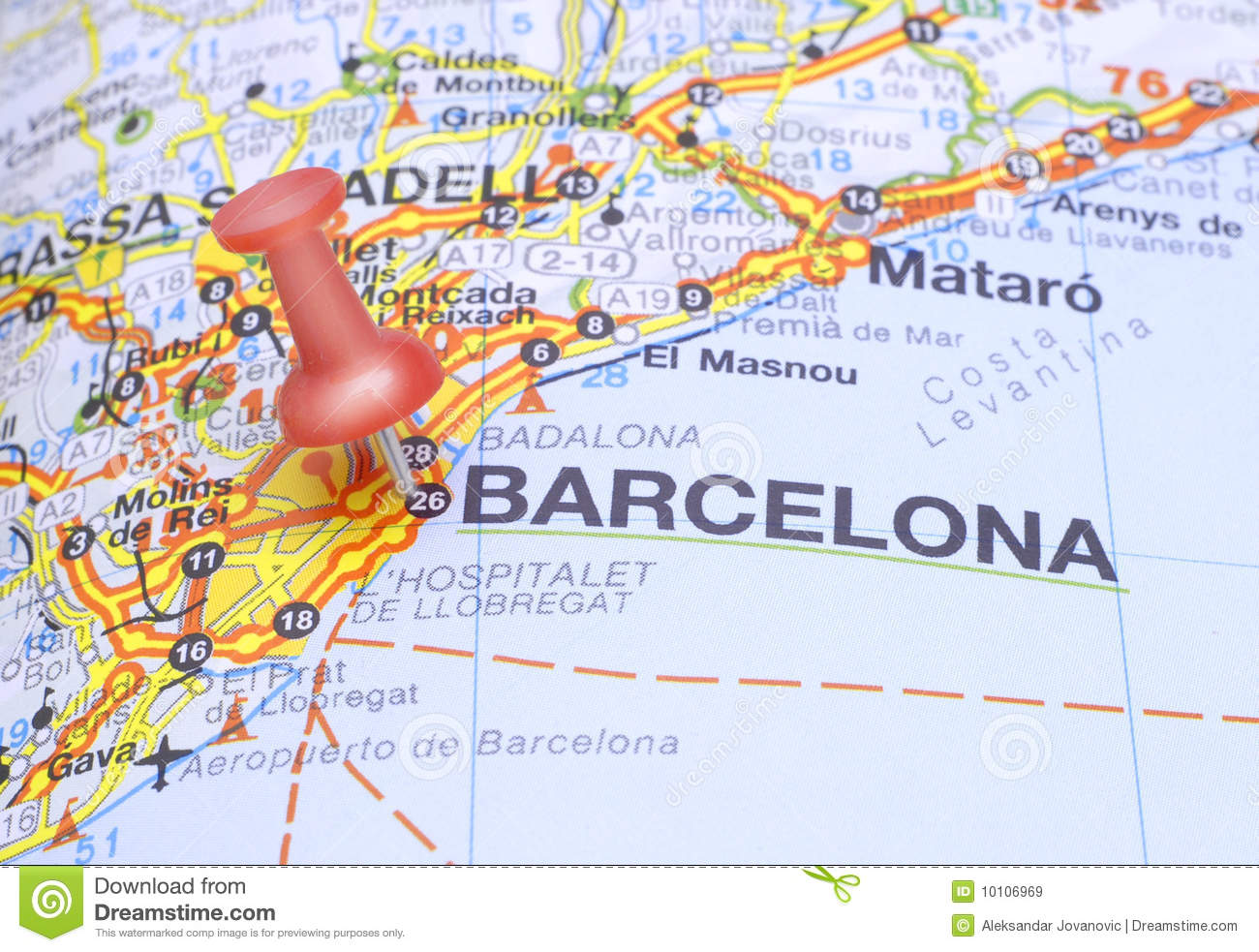 Map Of Spain With Barcelona.Destination Barcelona On The Map Of Spain Stock Image Image Of