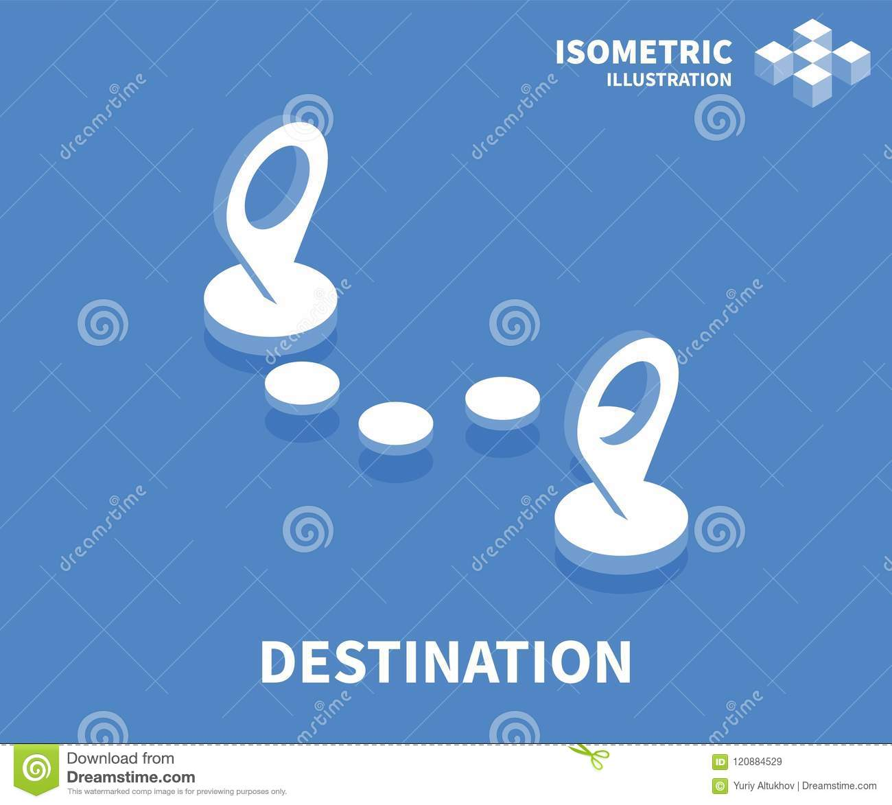 Destination icon. Isometric template for web design in flat 3D style. Vector illustration