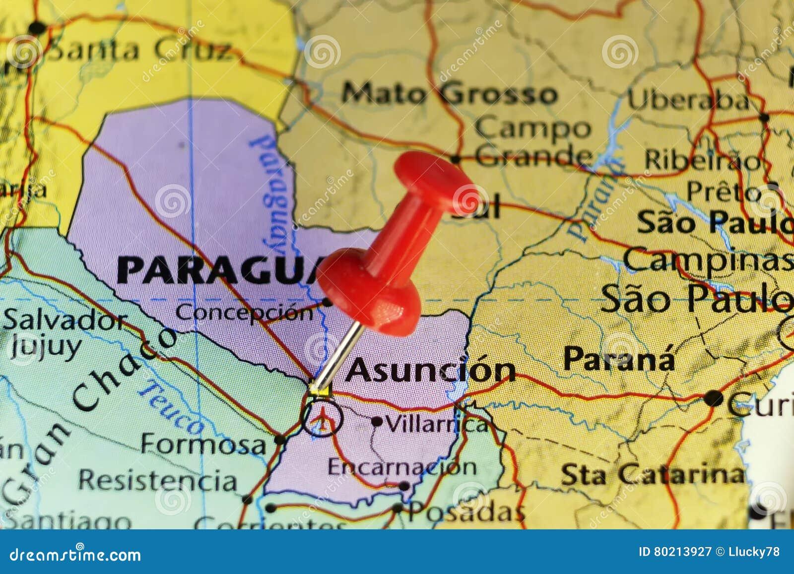 Asuncion Paraguay Map Destination Map, Asuncion Paraguay Stock Illustration