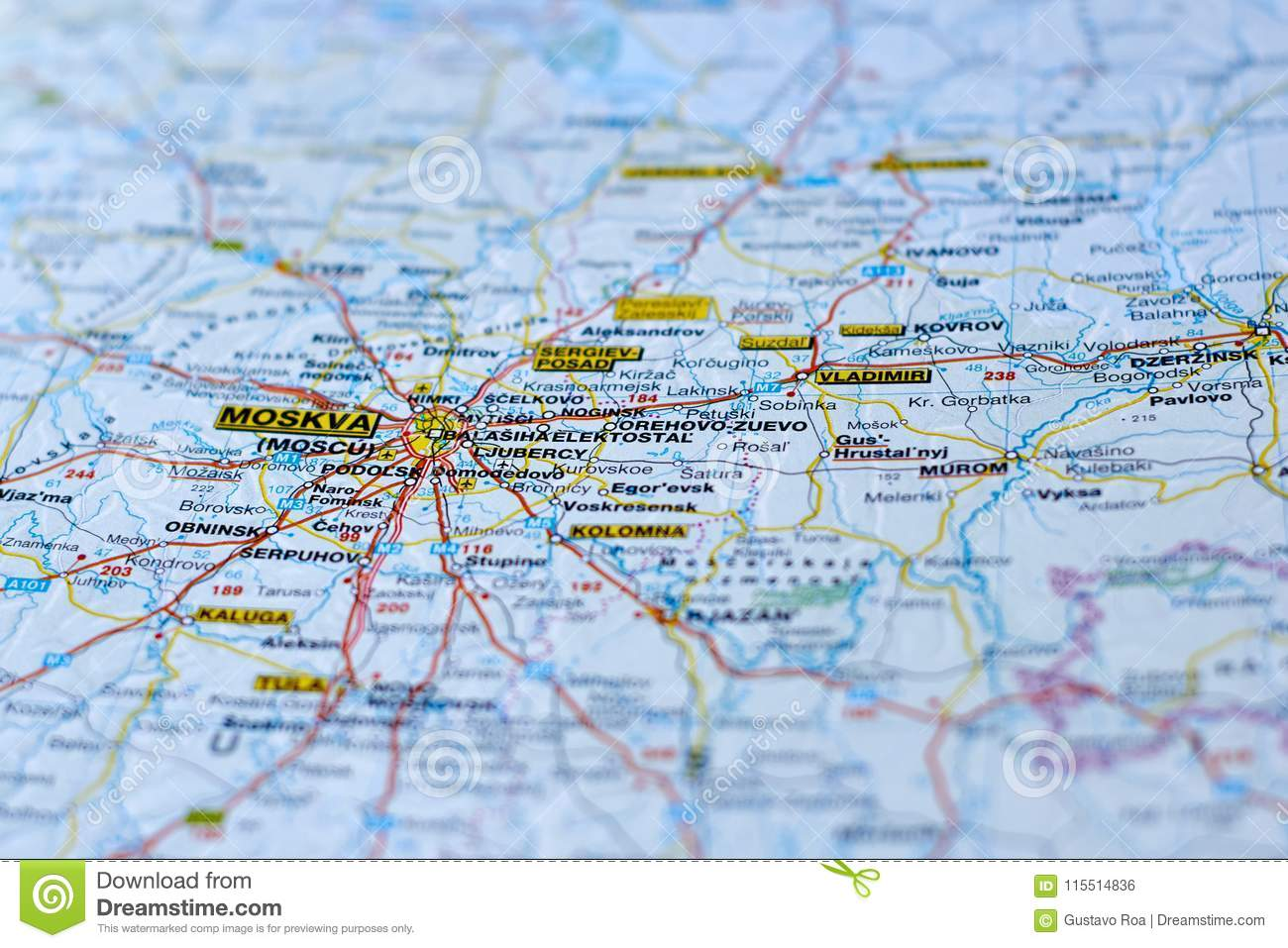 Location Of Moscow On The Map Stock Photo Image Of Largest Russia