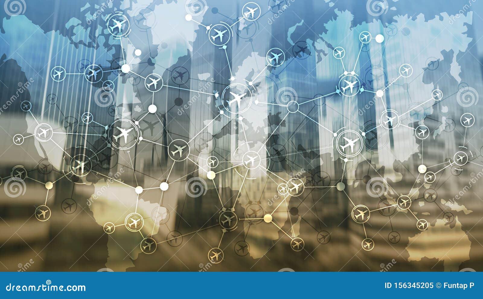 Destinations of plane flight. Air transport, travel tourism concept. Aviation routes