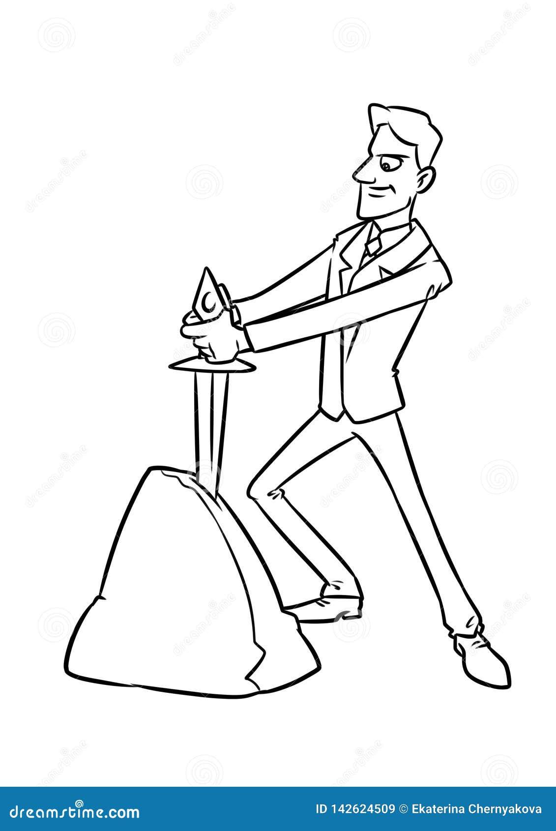 Destino Escolhido Homem De Negocios Ilustracao Dos Desenhos