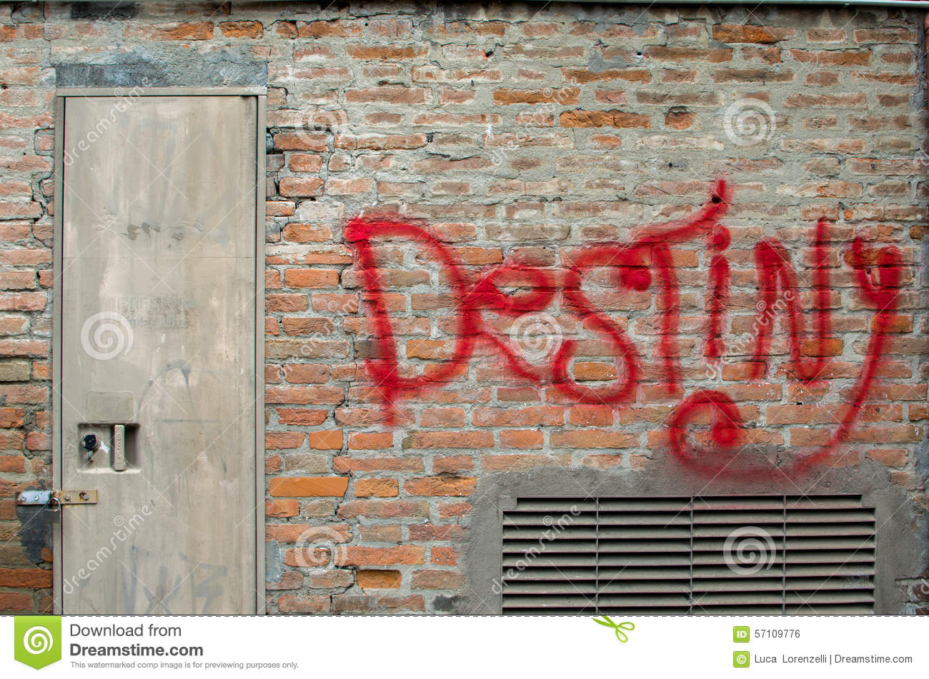 Destiny graffiti on brick wall