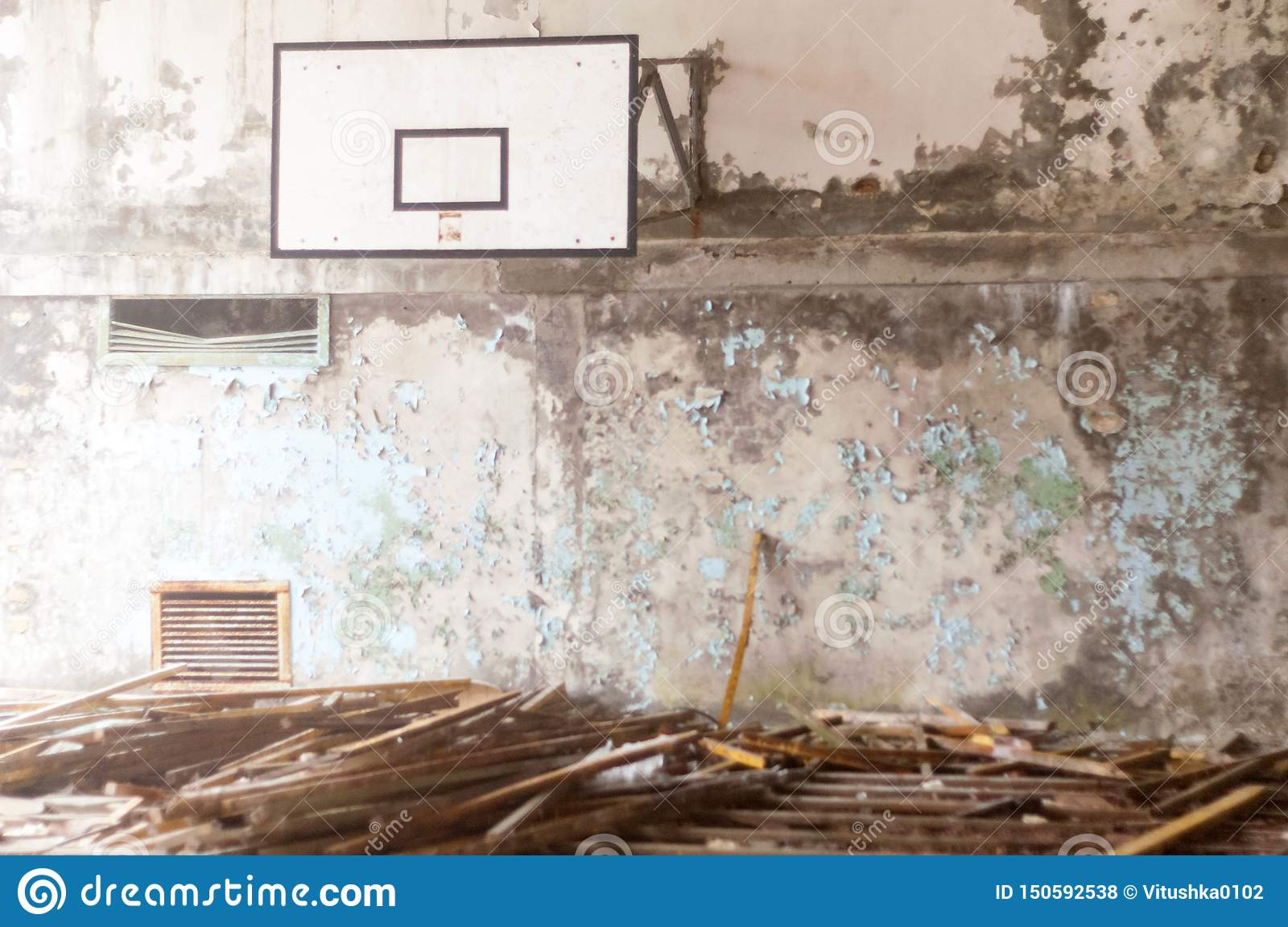 Basketball court in ruined school in Pripyt, Chernobyl zone