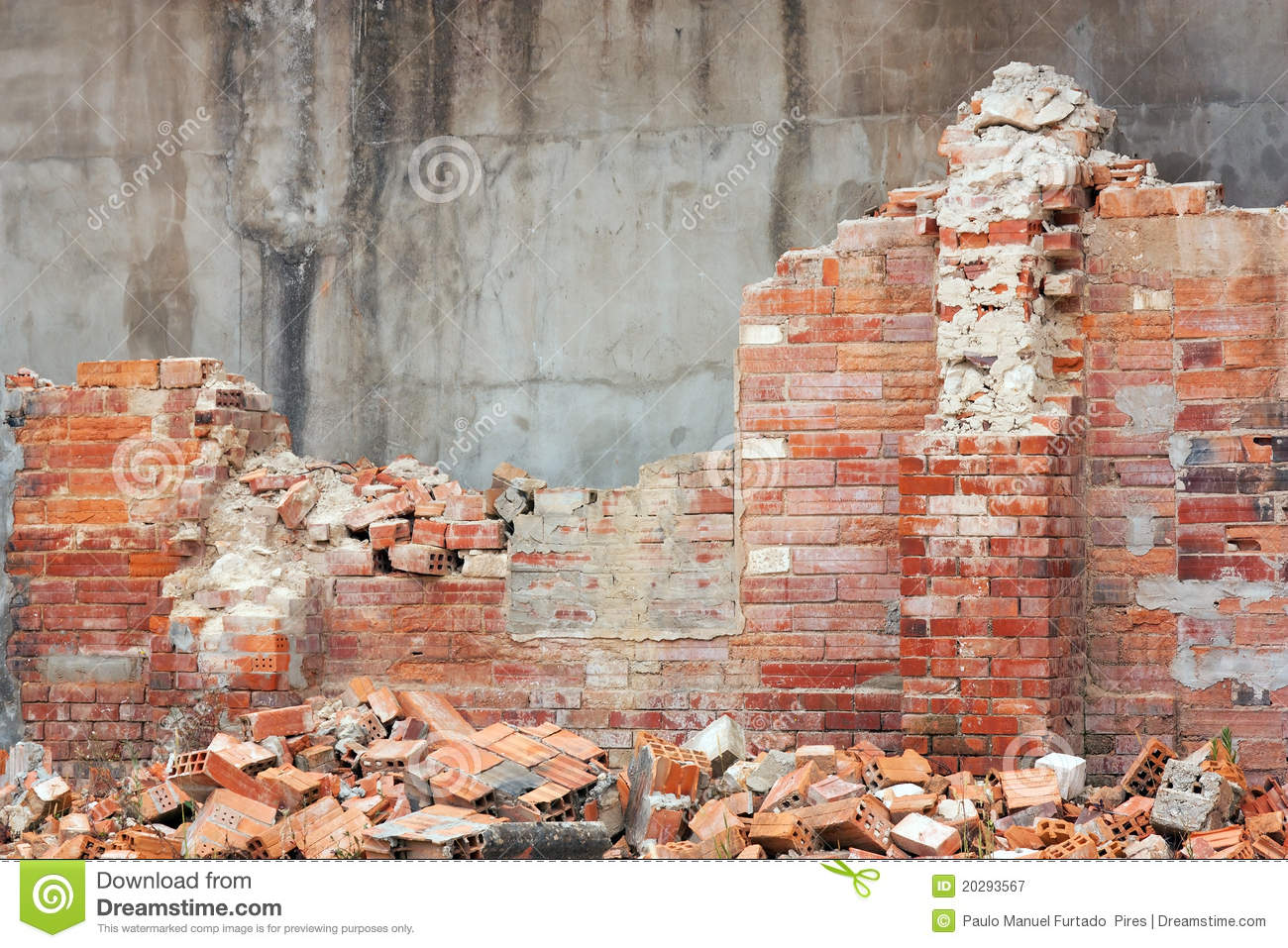 Destroyed Brick Wall Stock Image Image Of Concrete