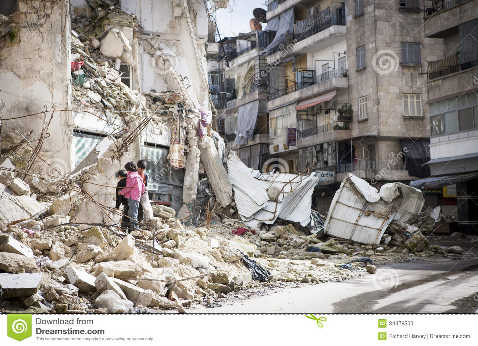 Destroyed building Aleppo.