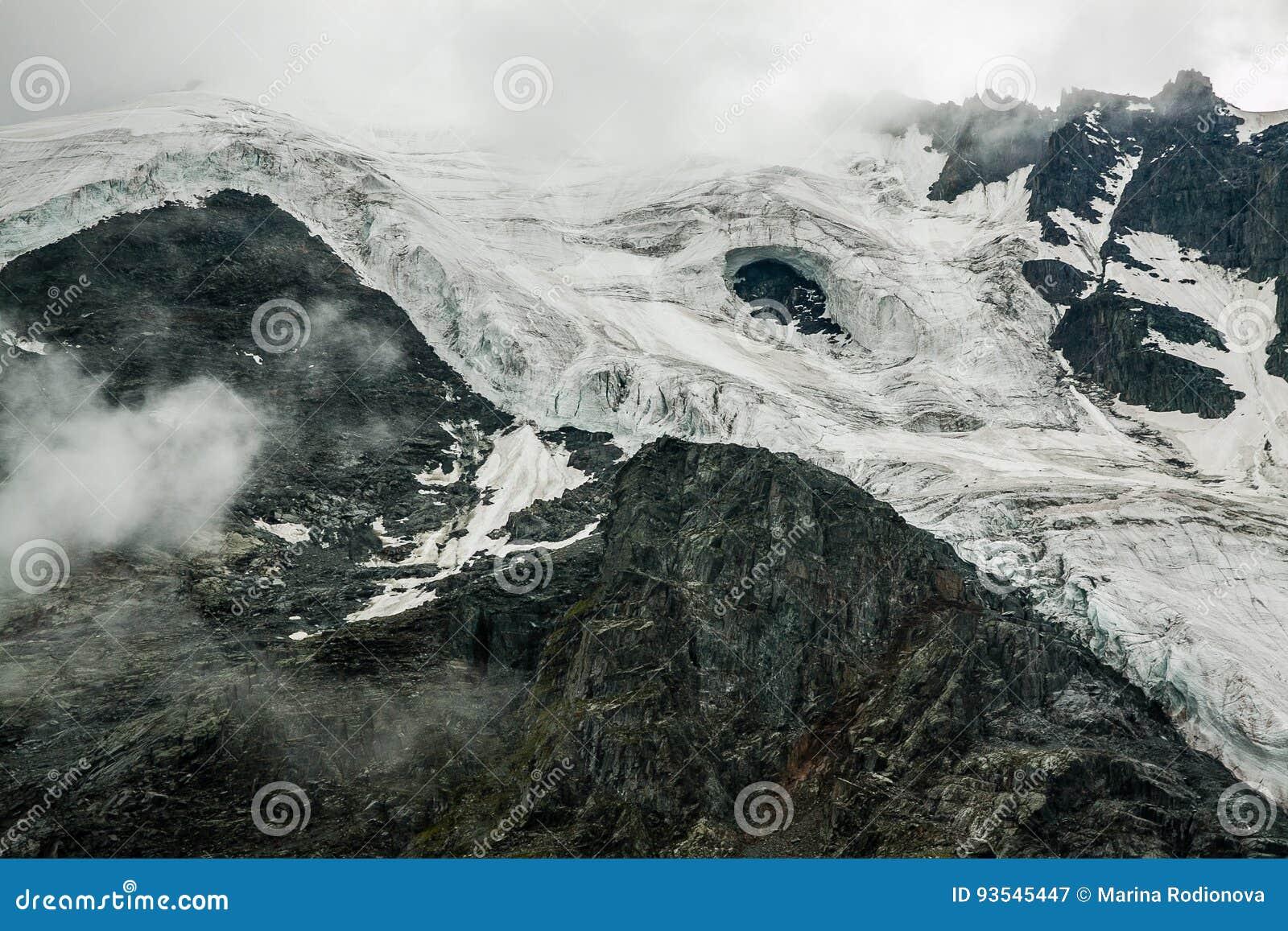 Destroyed and melting glacier