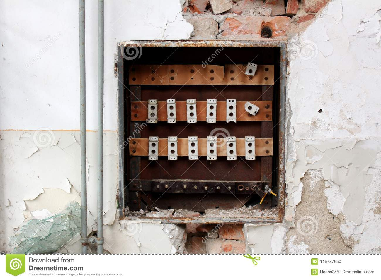 Download Destroyed Old Fuse Box Surrounded With Crumbling Wall Stock Photo  - Image of destroyed,