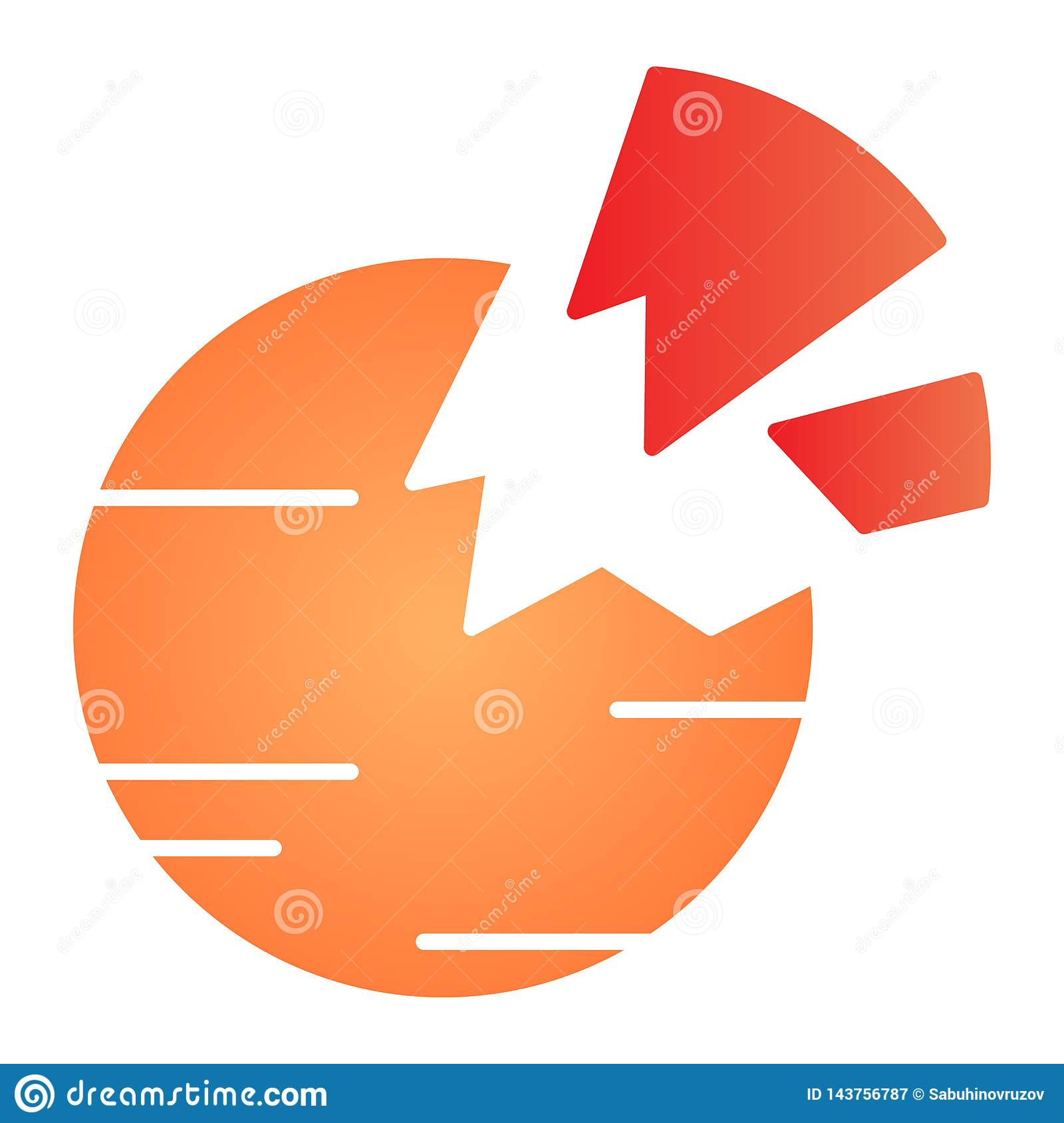 Destroyed planet flat icon. Broken planet color icons in trendy flat style. Space gradient style design, designed for