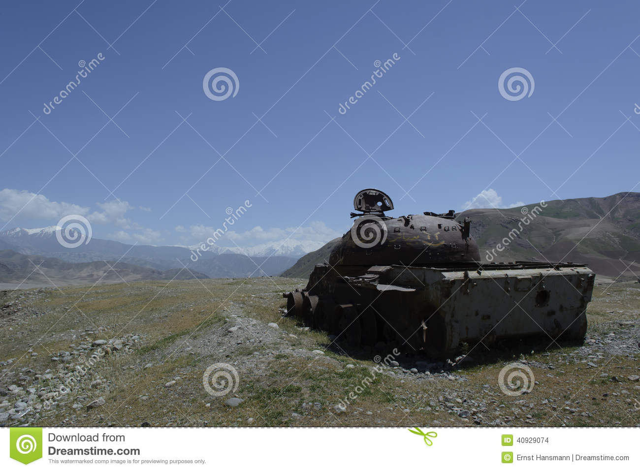 Destroyed soviet tank in Afghanistan