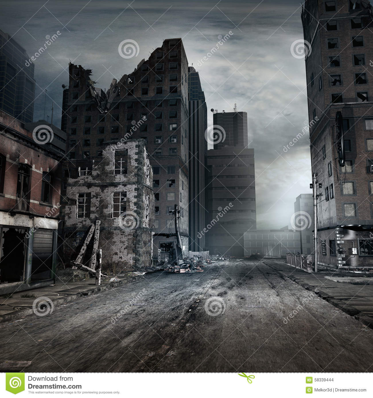 Destroyed Tenement House Stock Illustration Image 58339444