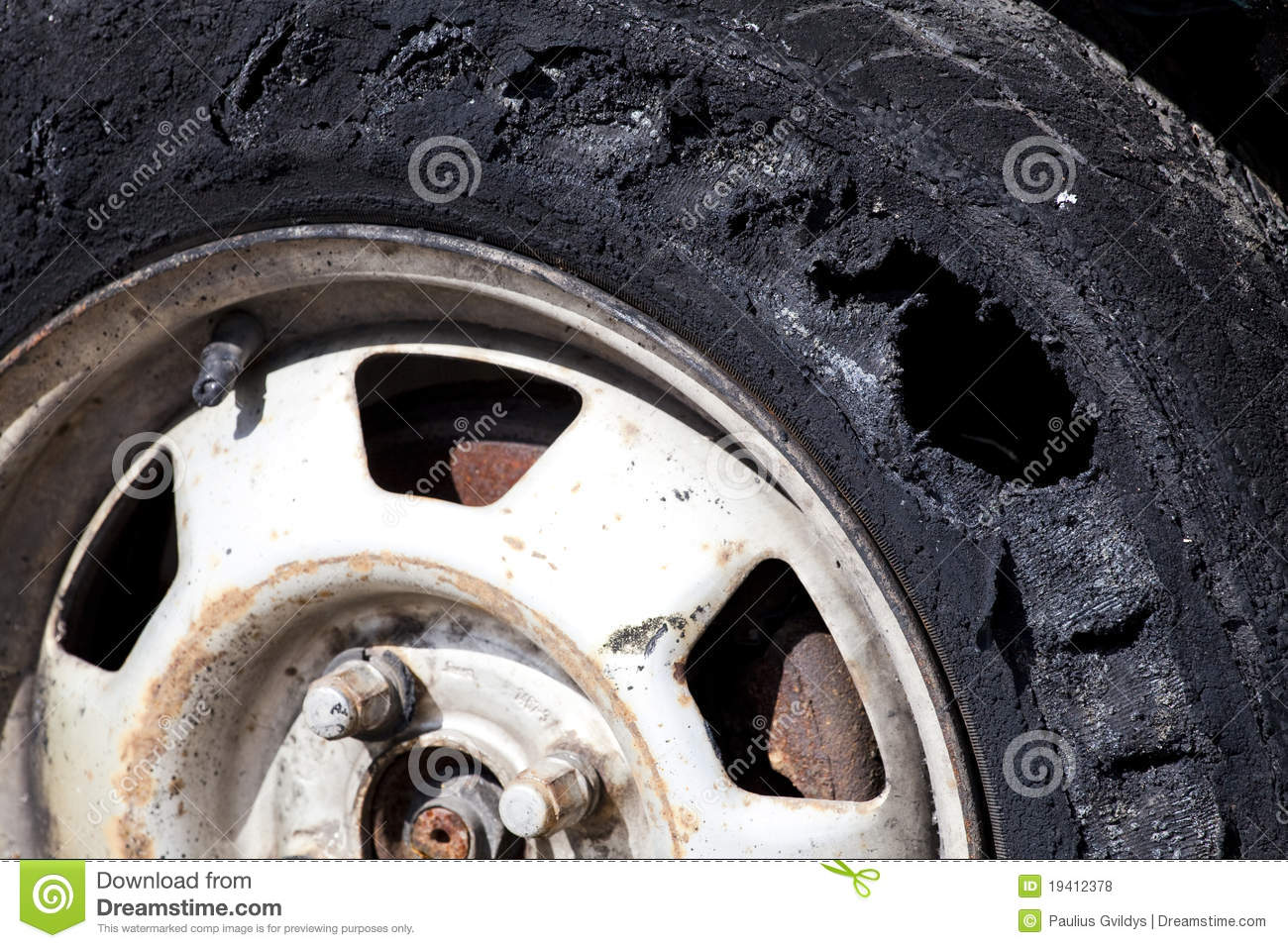 Destroyed tire