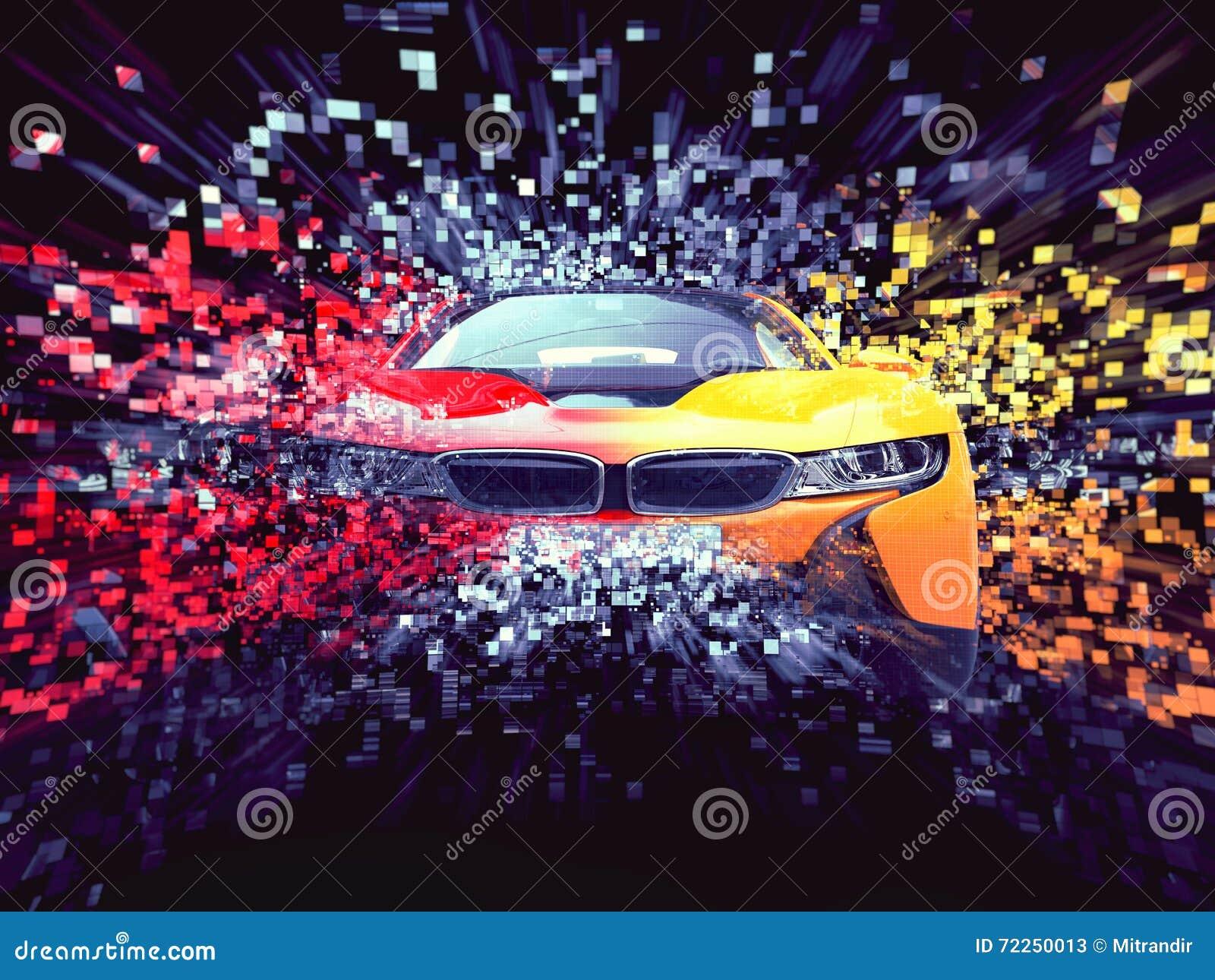 Destrucción abstracta automotriz del pixel de los deportes bicolores