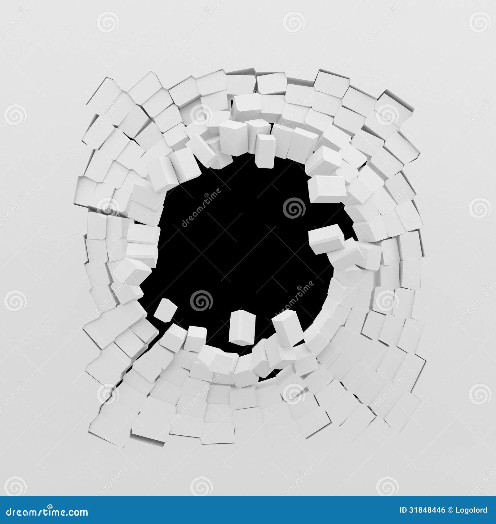 Destruição de uma parede branca