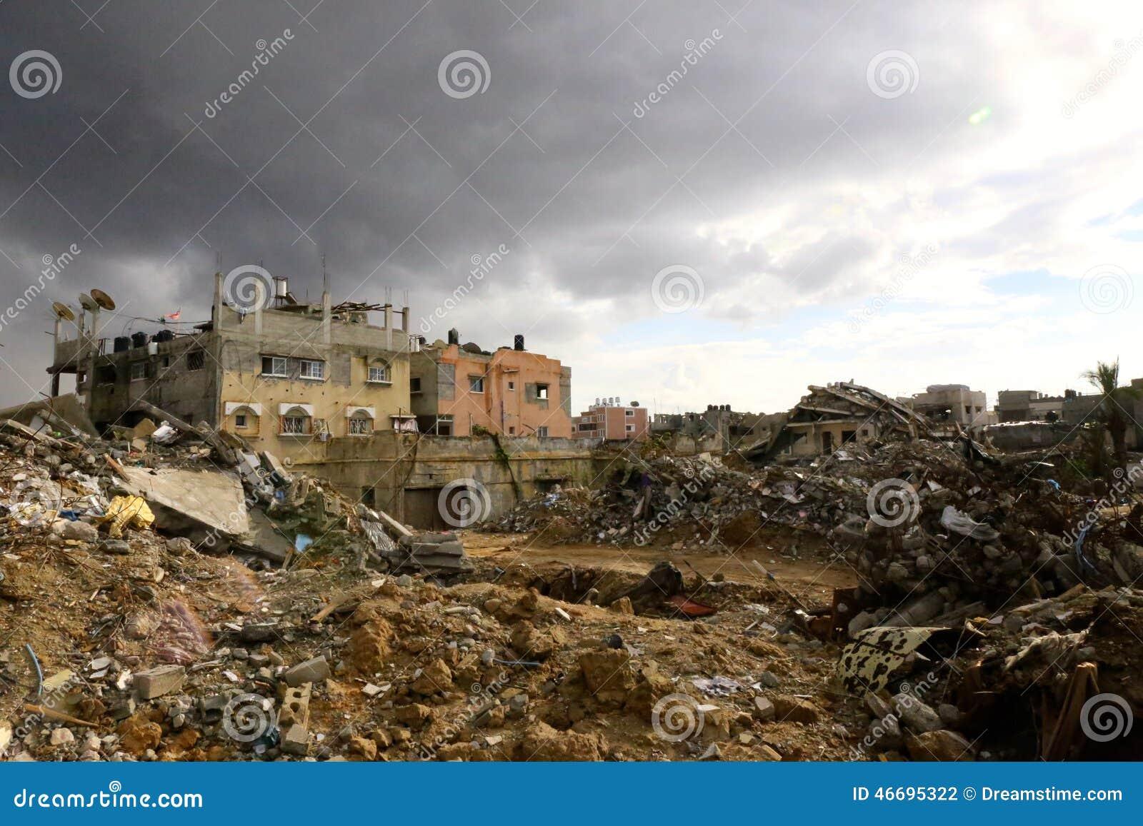 Destruição em Shejayia, cidade de Gaza, Faixa de Gaza