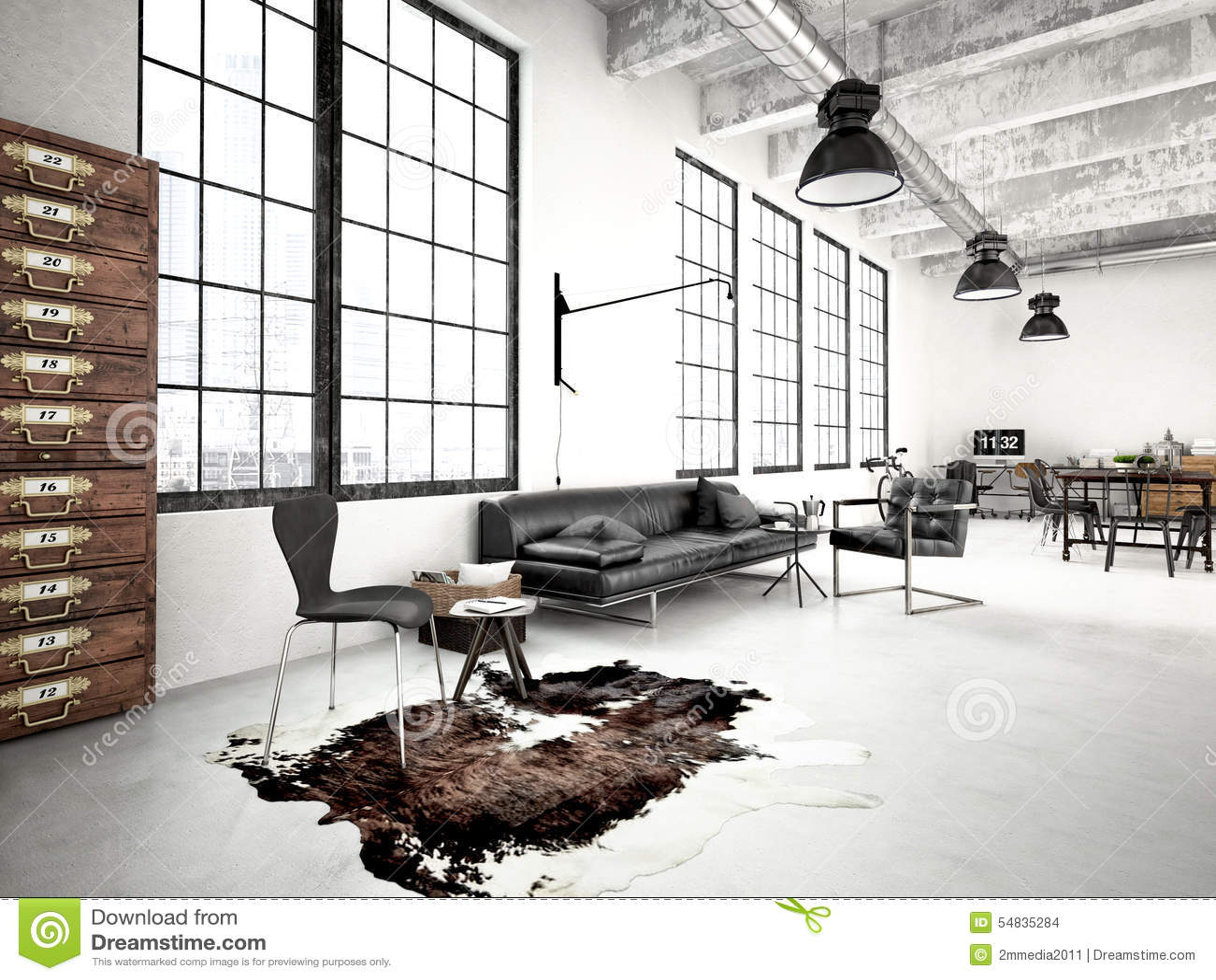 Desván industrial moderno representación 3d