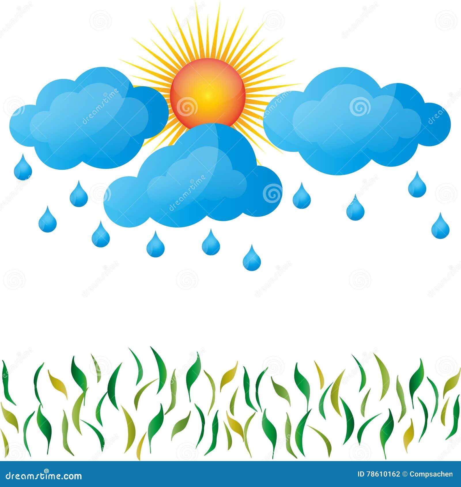 Deszcz, wiosna, słońce, chmury, trawa