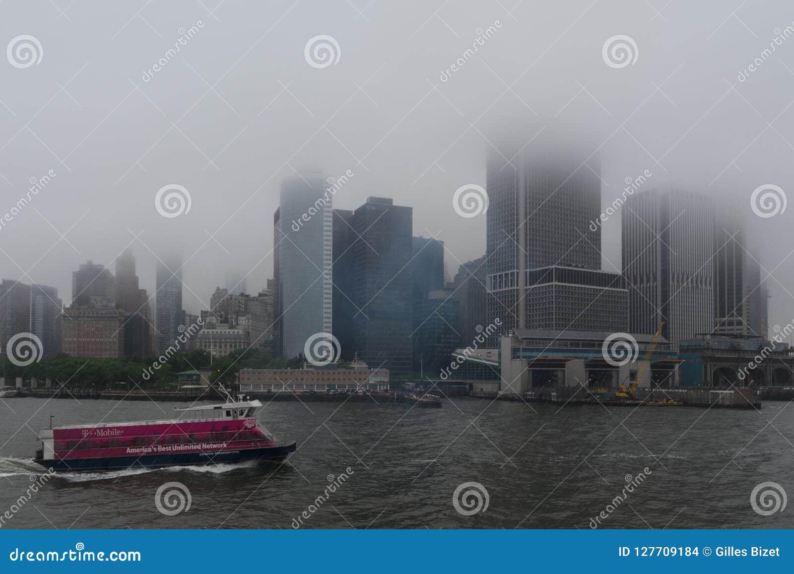 Deszczowy dzień na Miasto Nowy Jork