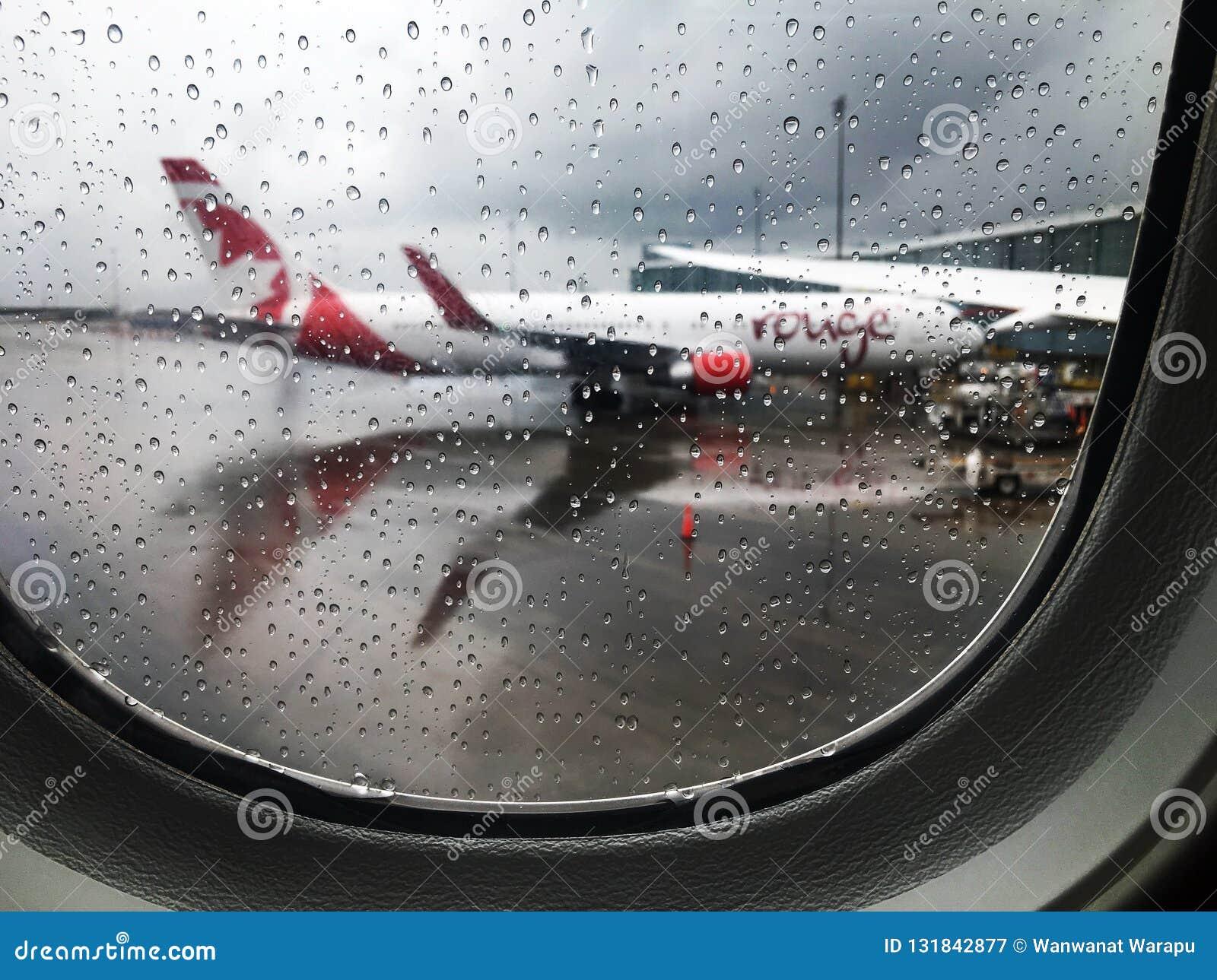 Deszczowy dzień przy Vancouver lotniskiem