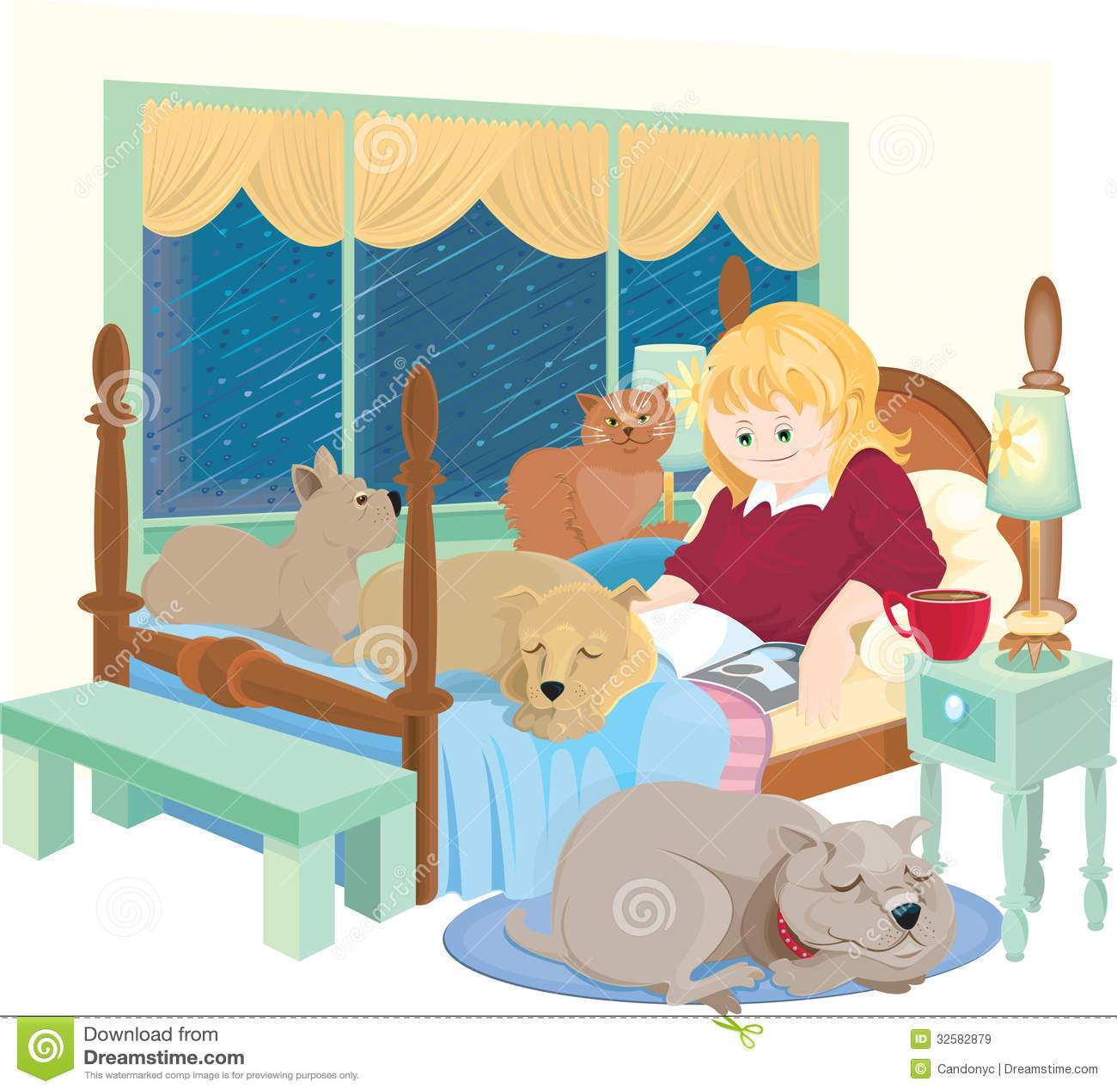 Deszczowy dzień z zwierzętami domowymi