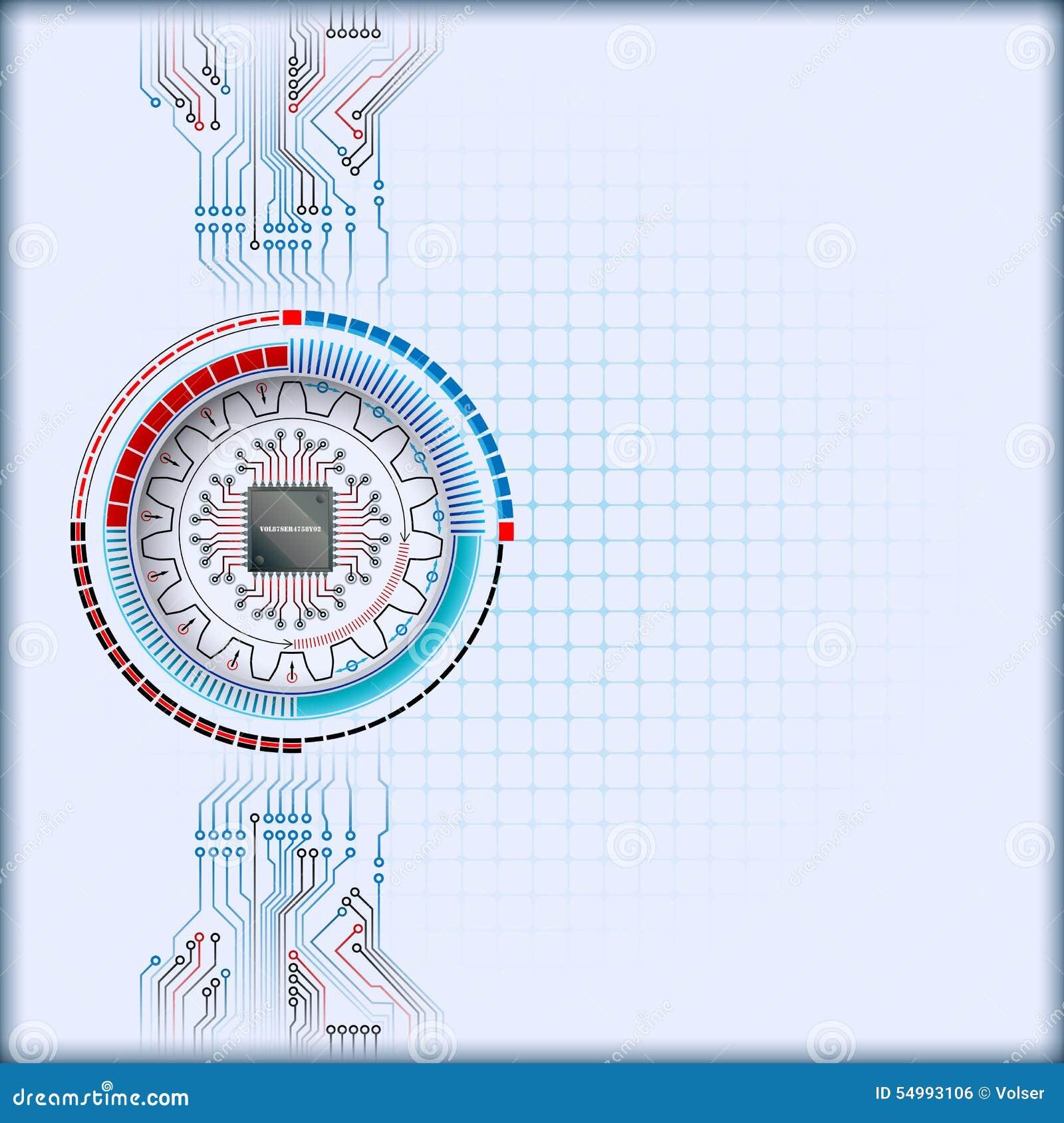 Det abstrakta datordiagrammet med processorchipen och kugghjulet formar