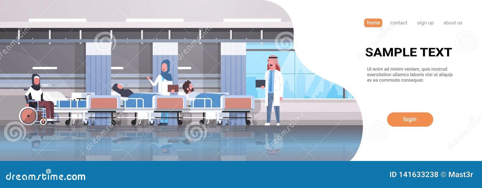 Det arabiska doktorslaget som besöker rörelsehindrade arabiska patienter som sitter terapi för säng för rullstol liggande intensi